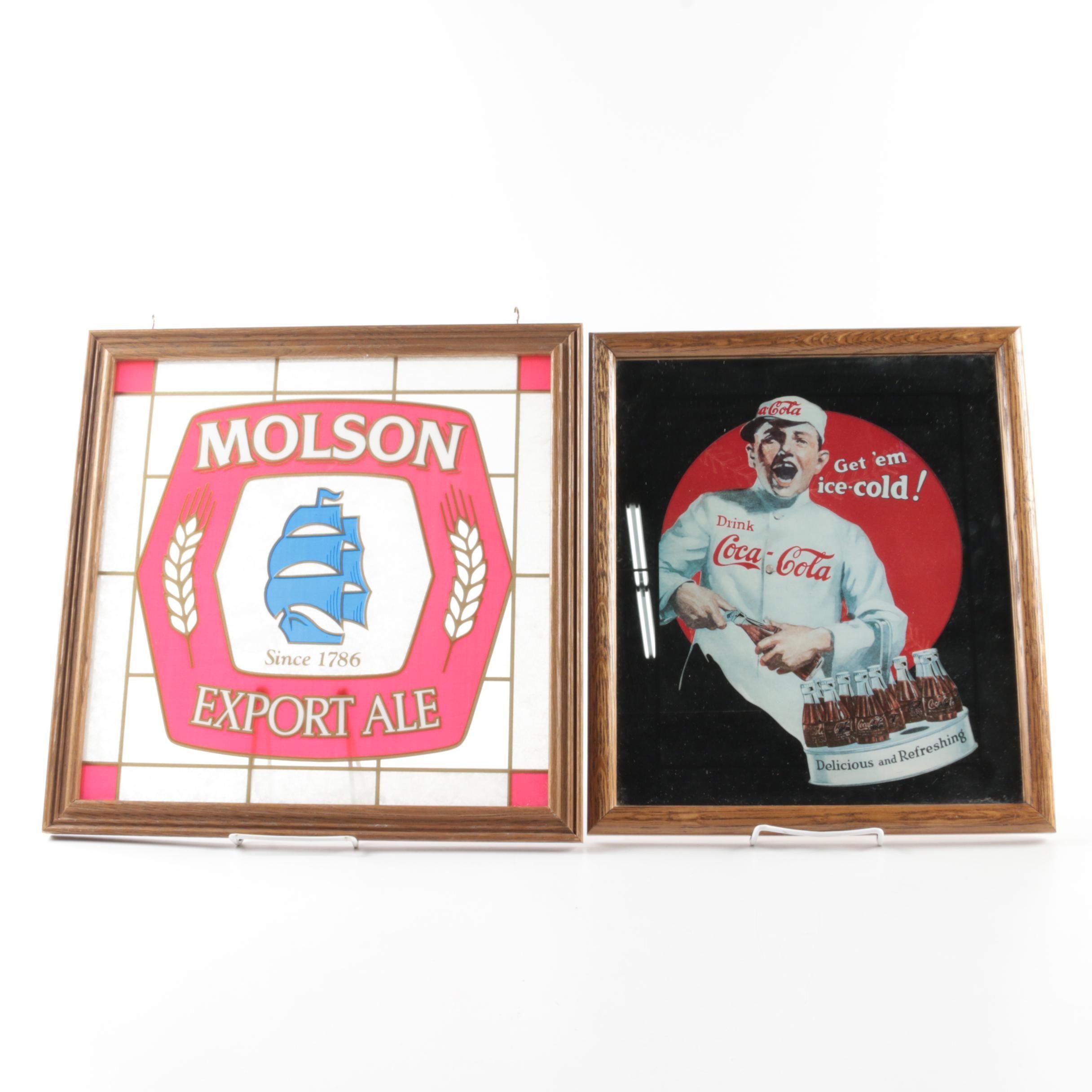 Molson Ale and Coca-Cola Decorative Mirrors