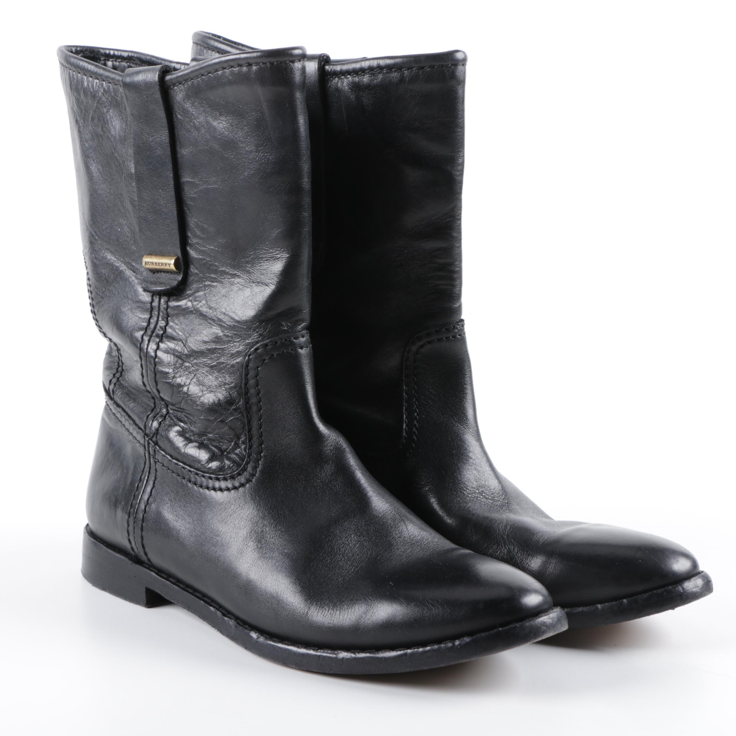 Women's Burberry Black Leather Boots