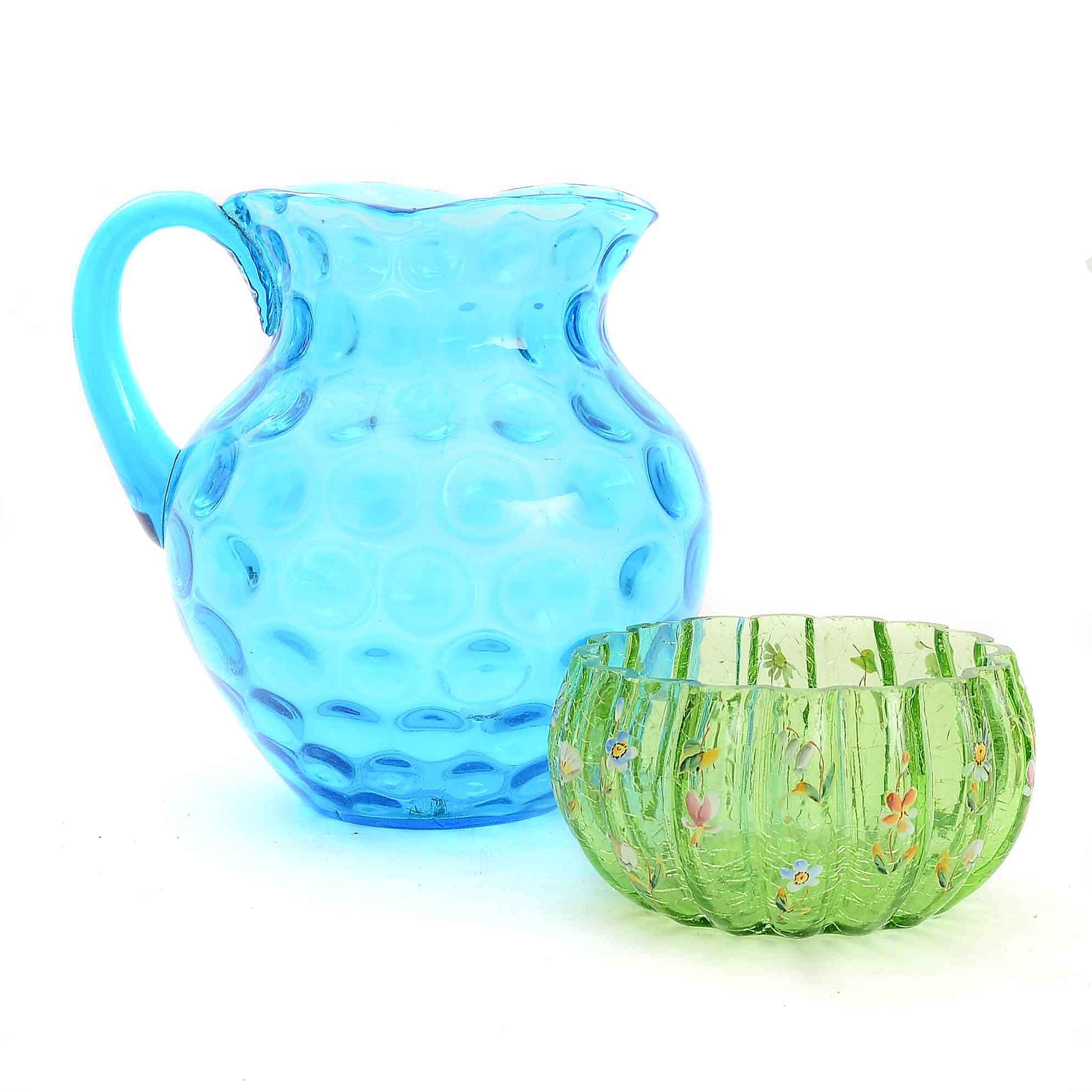 Vintage Glass Pitcher and Bowl