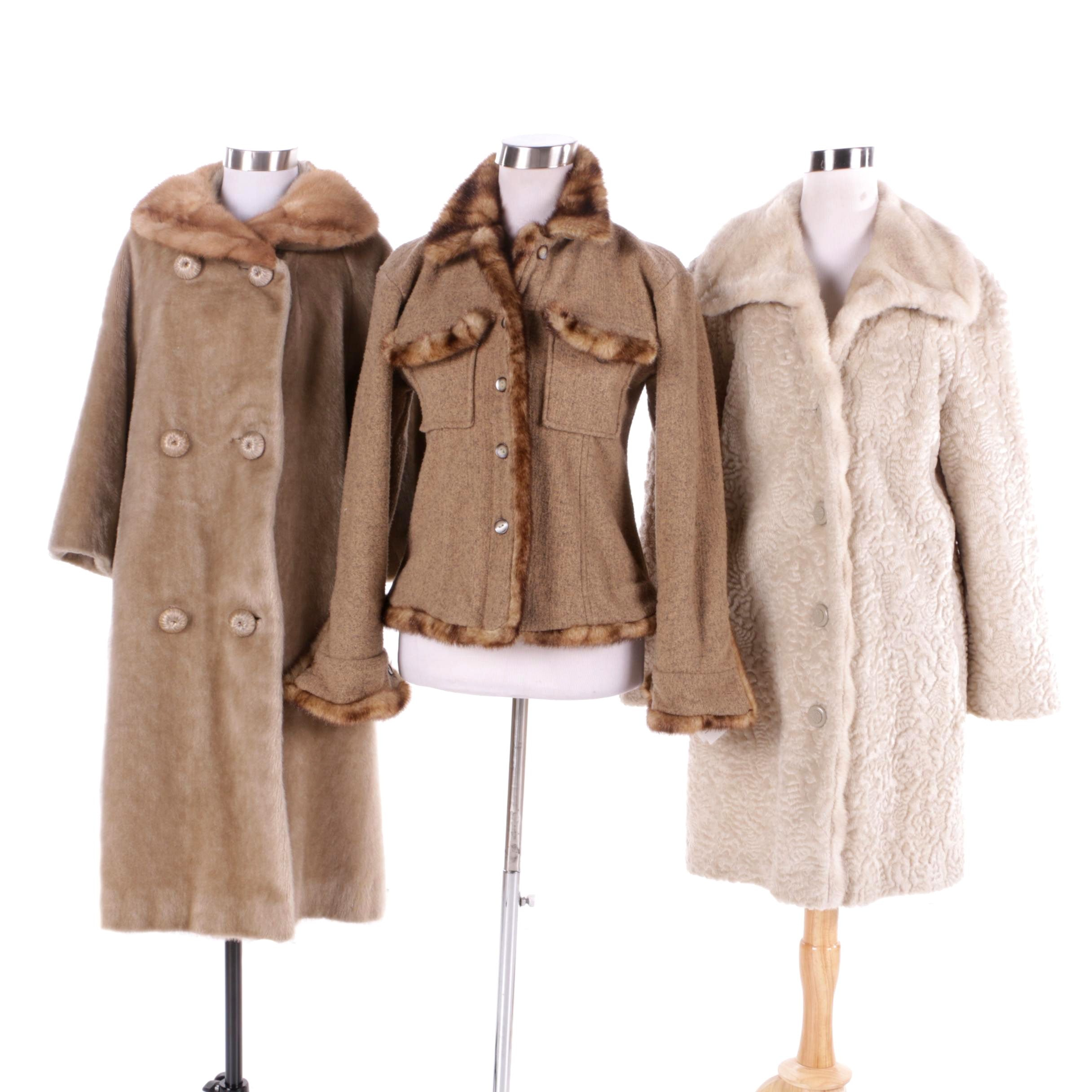 Women's Winter Coats with Mink Fur and Faux Fur Including Peck & Peck