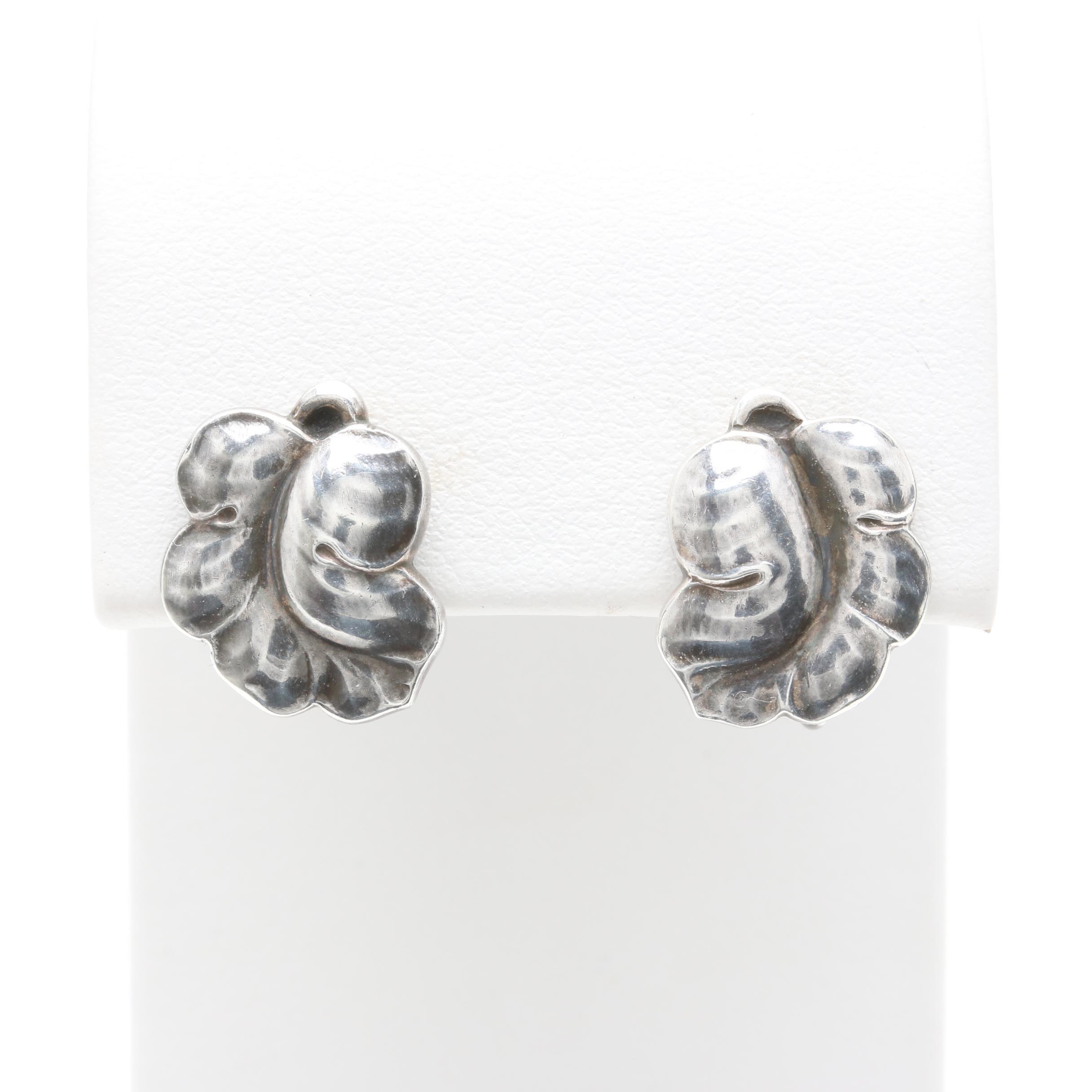 Circa 1915 - 1919 Georg Jensen Danish Sterling Silver Screw Back Earrings