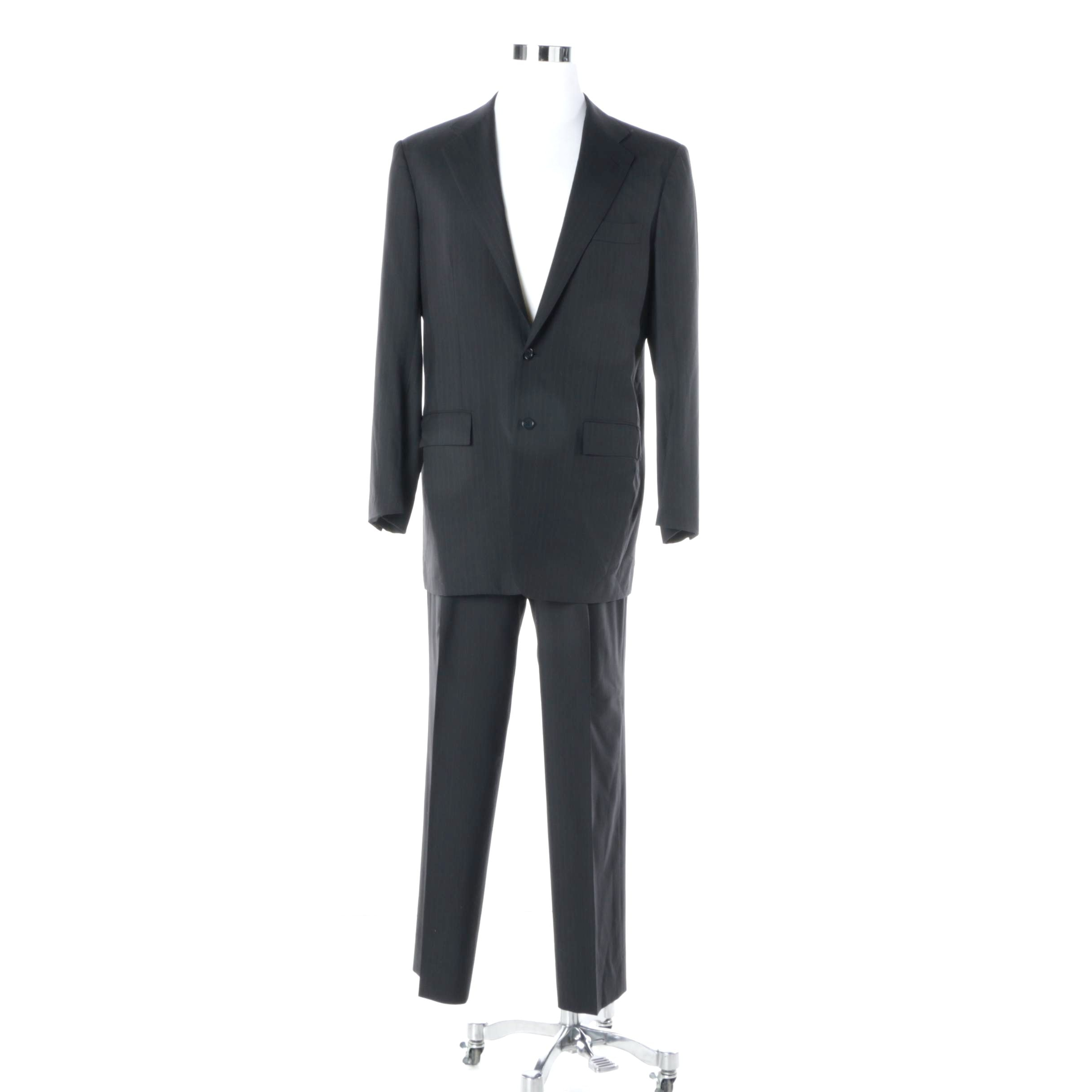 Men's Kiton Single-Breasted Black with Blue Pinstripe Suit