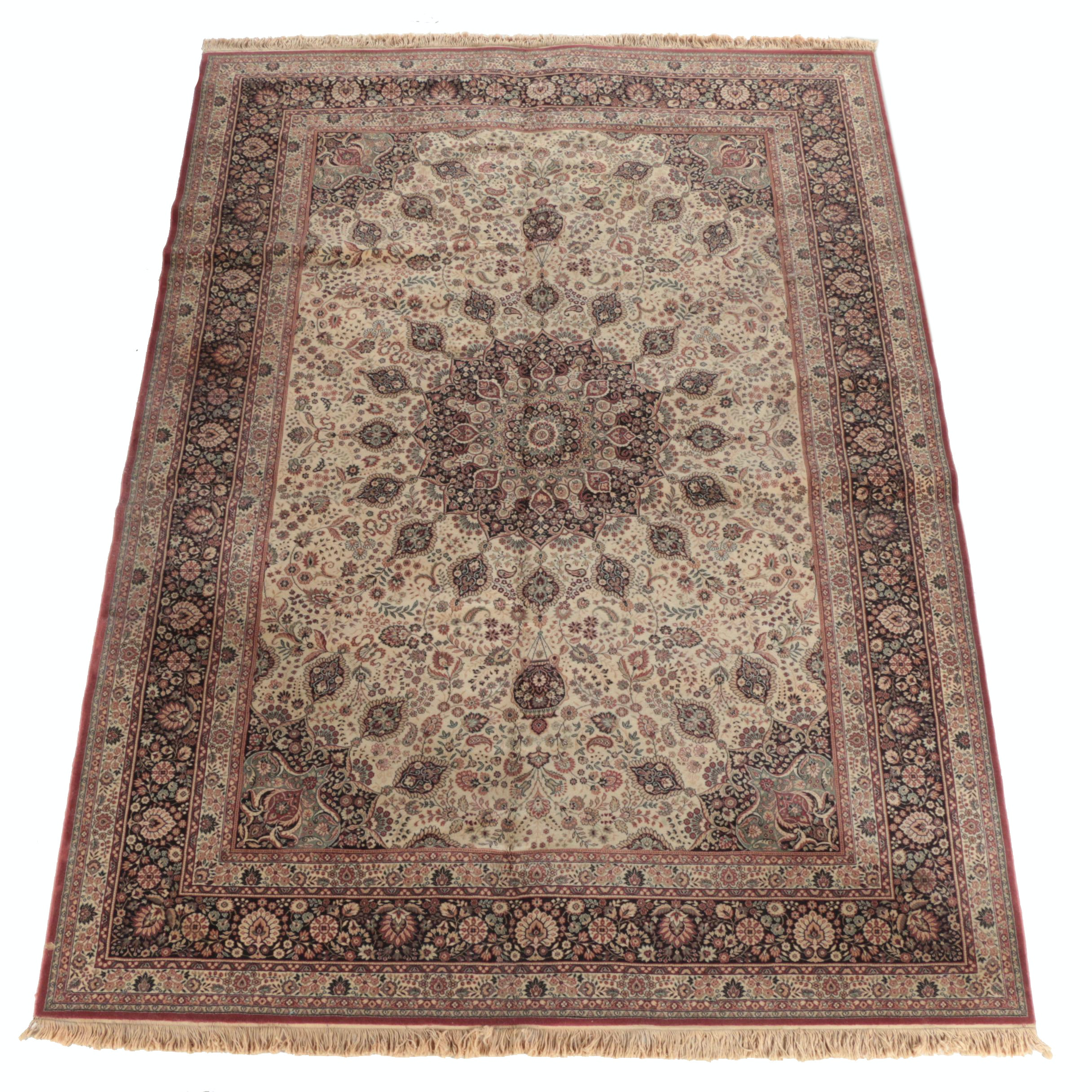 Hand-Knotted Persian Kashmir Wool Area Rug