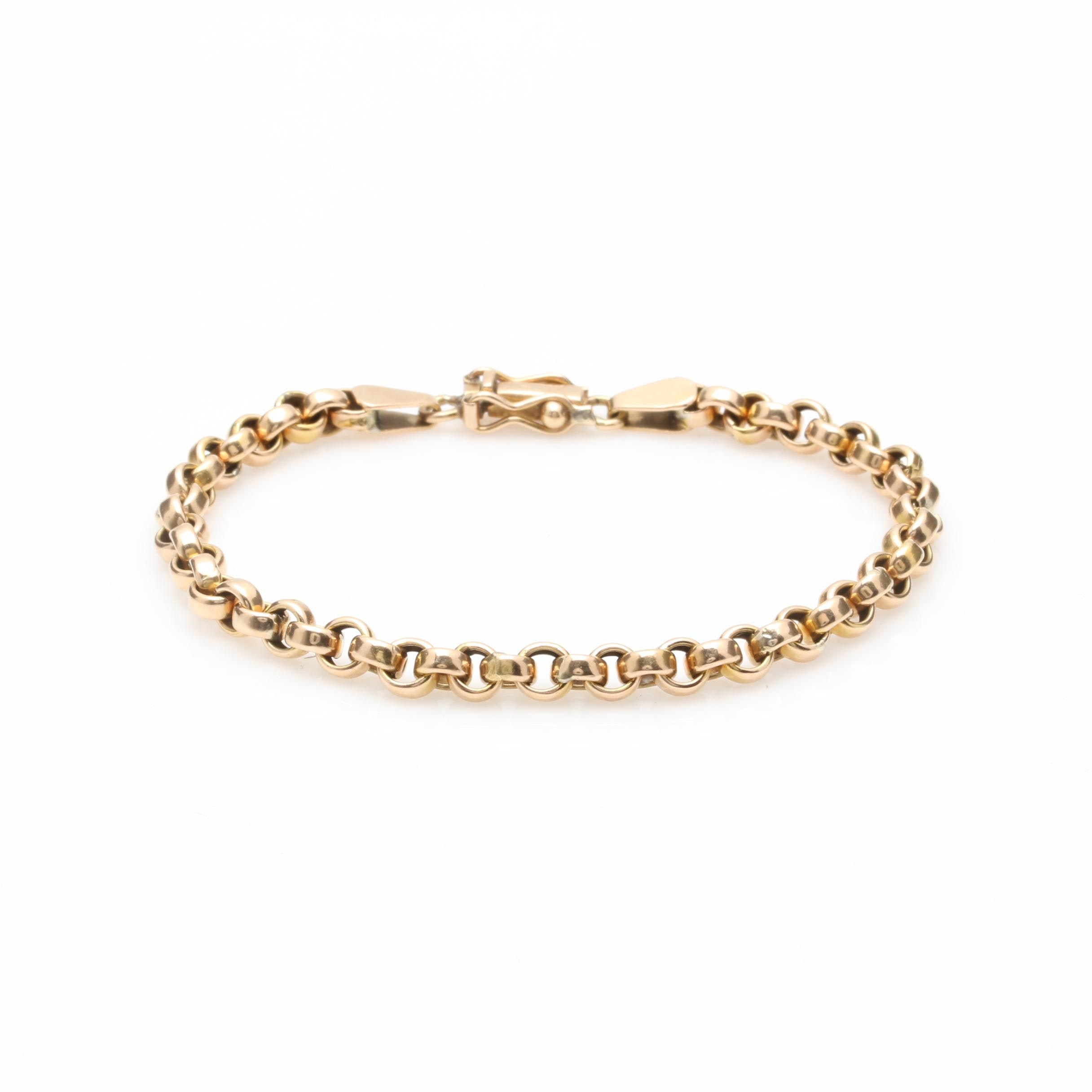 18K Yellow Gold Rolo Link Chain Bracelet