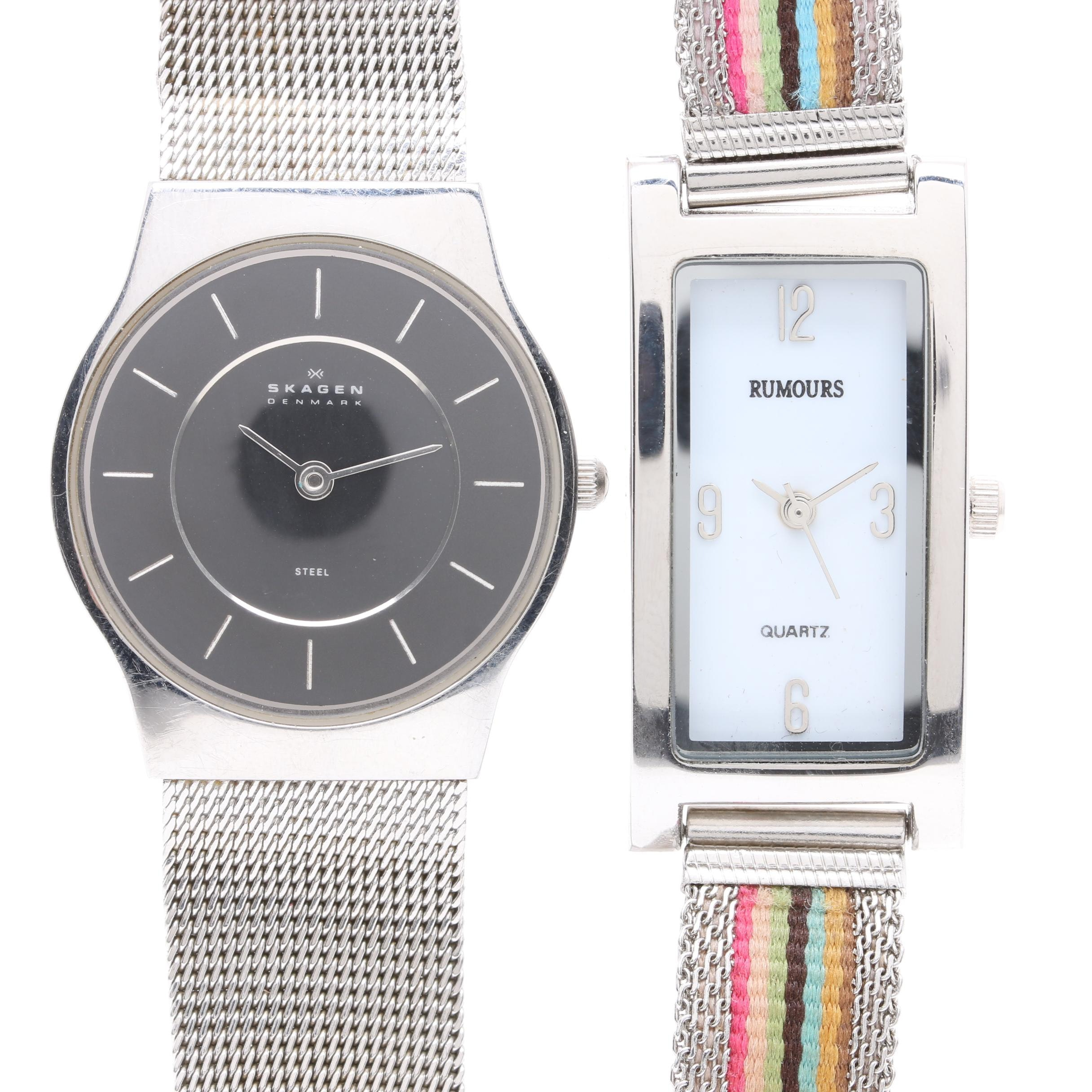 Skagen and Rumours Stainless Steel and Silver Tone Wristwatches