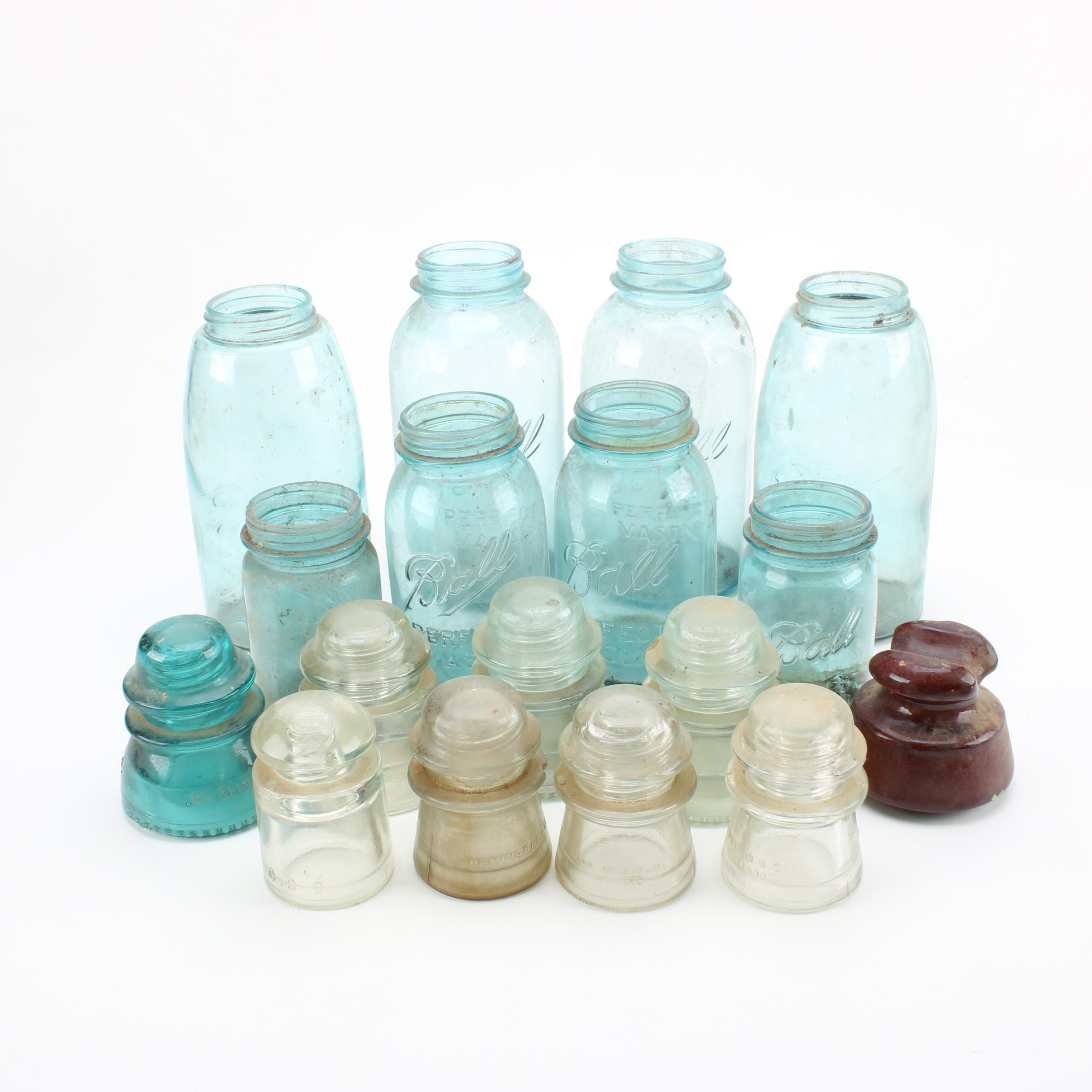 Vintage Blue Glass Mason Jars and Insulators