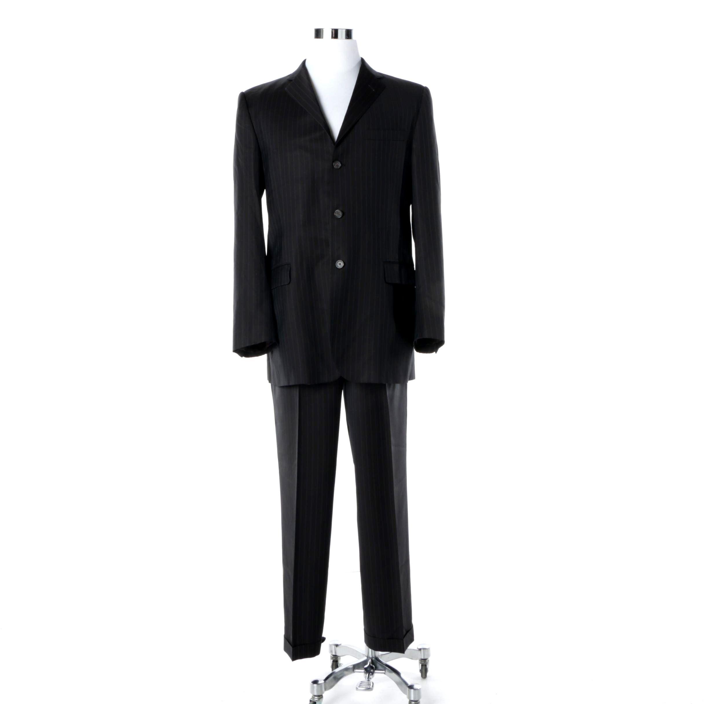 Men's Burberry London Black Wool Pinstripe Suit