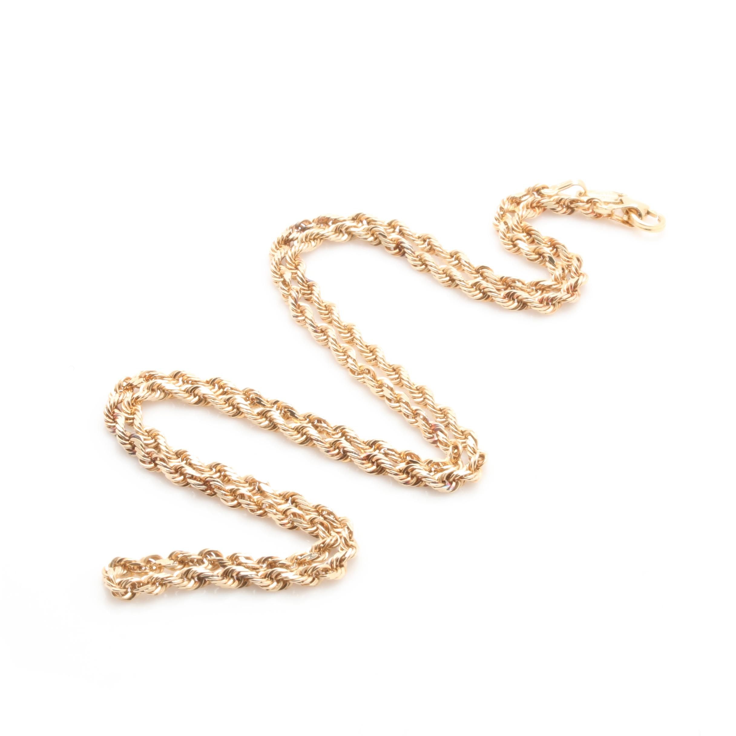 14K Yellow Gold Diamond-Cut Rope Link Necklace
