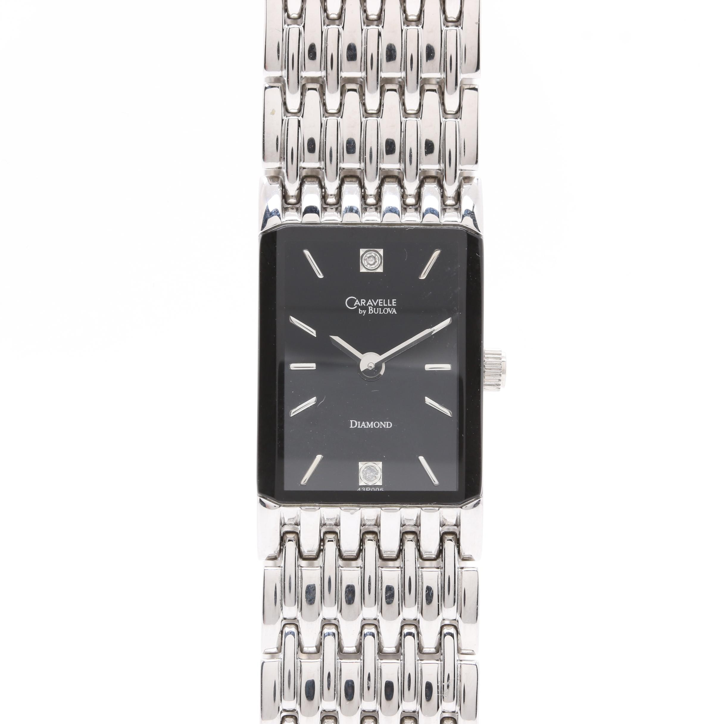 Caravelle by Bulova Stainless Steel Wristwatch With Diamond Accents
