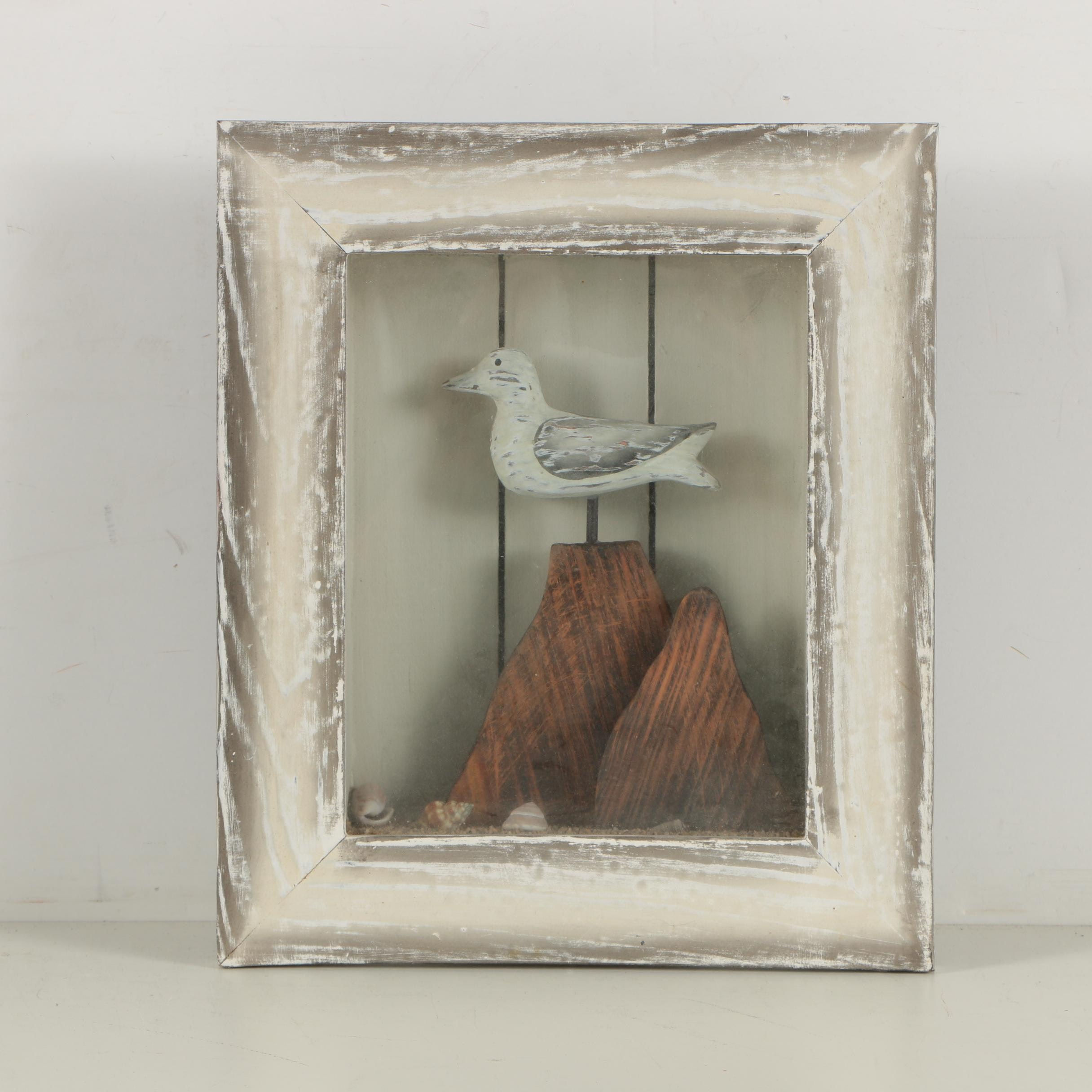 Wood Carving of Gull in Shadowbox