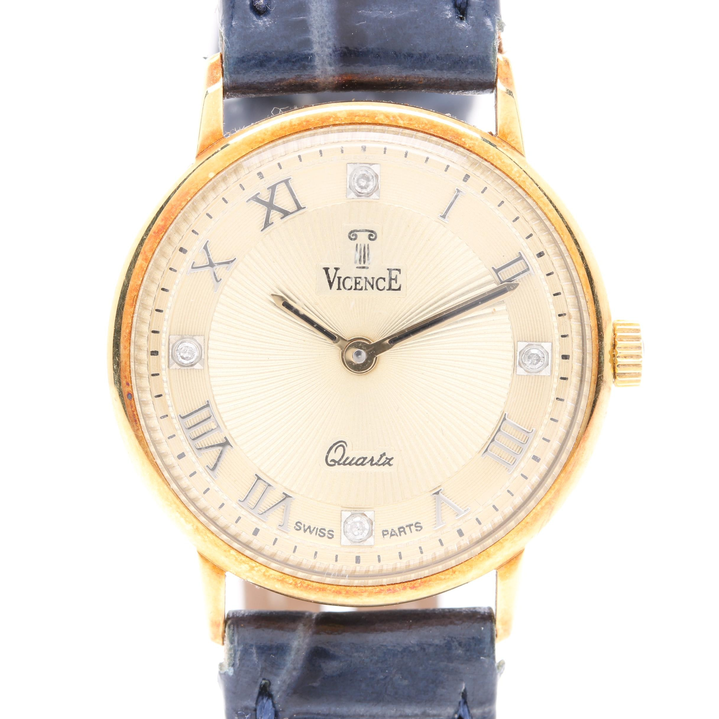 Vicence 14K Yellow Gold Blue Leather Wristwatch With Diamond Accents