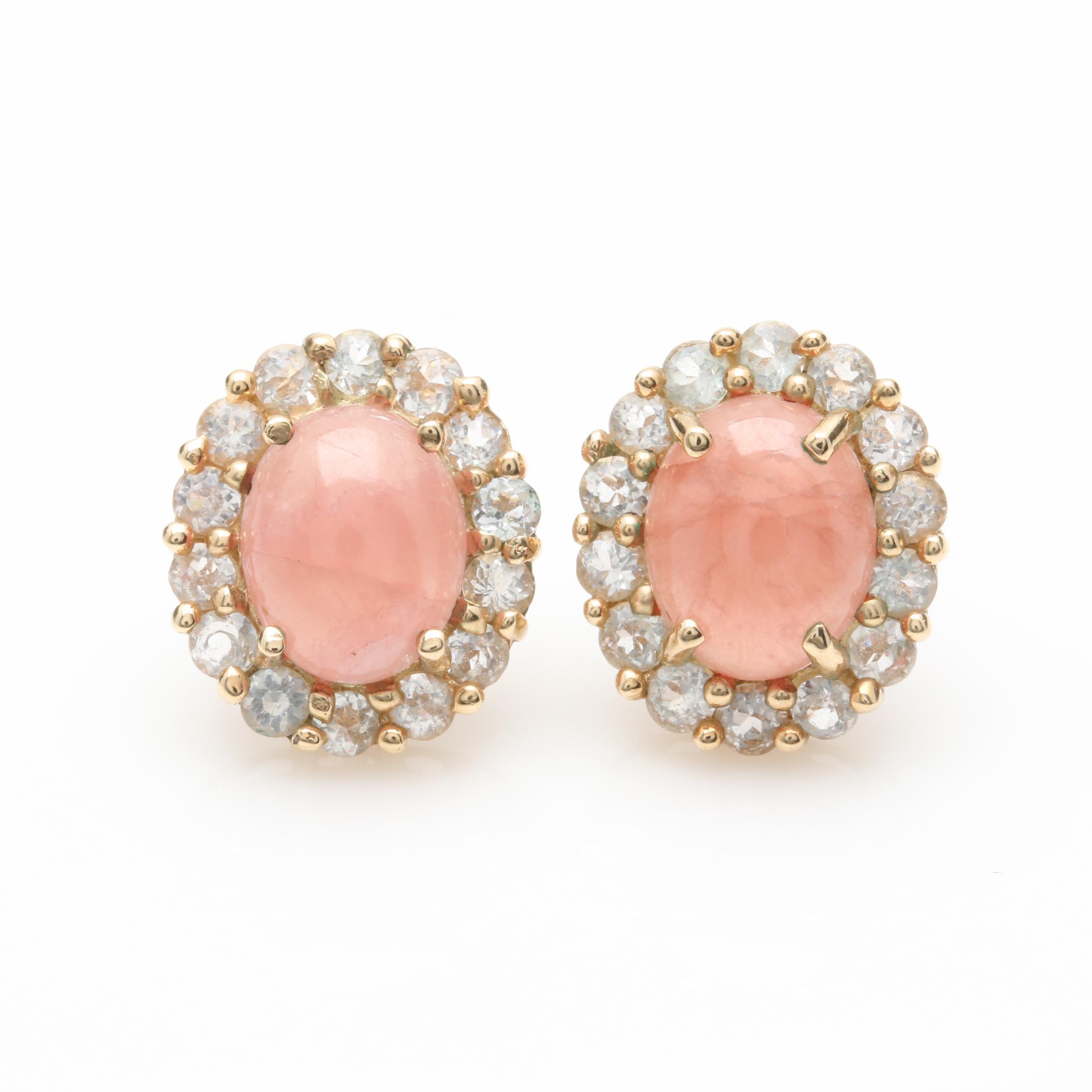10K Yellow Gold Single Crystal Rhodochrosite and White Topaz Earrings