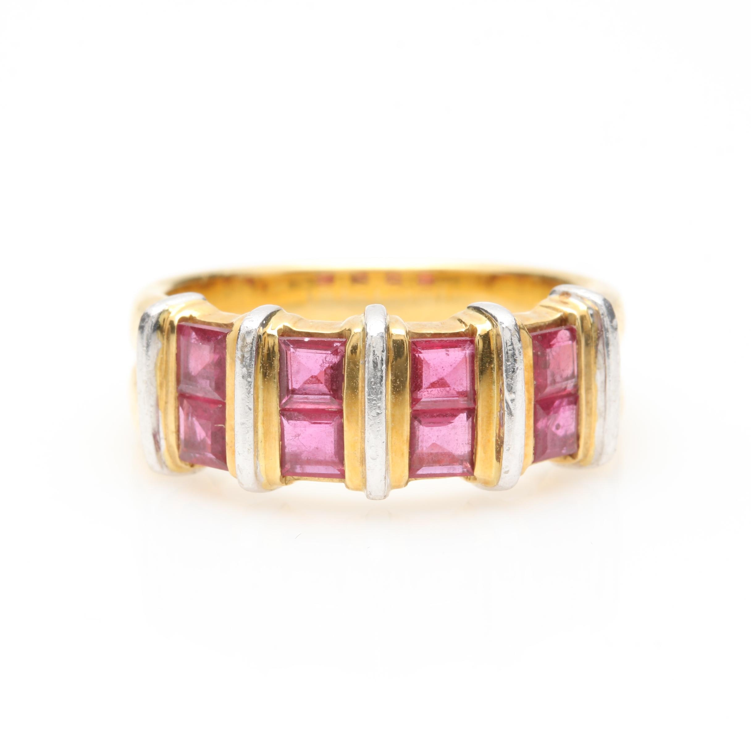 18K Yellow Gold Ruby Ring
