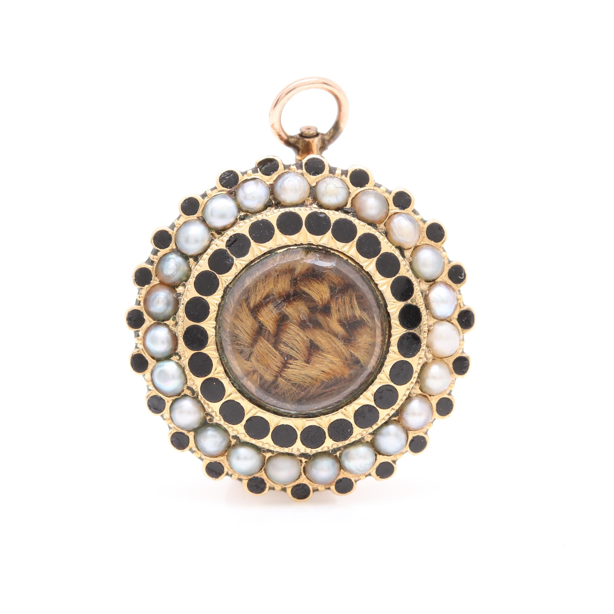 14K Yellow Gold Seed Pearl and Enamel Mourning Pendant