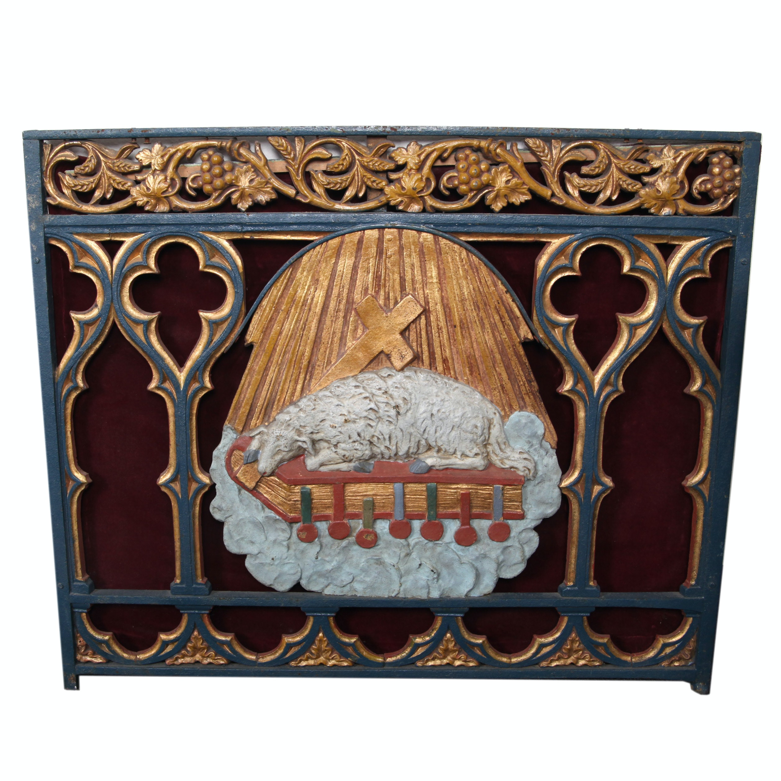 Painted Cast Metal Christian Motif Panel With Velvet Backing