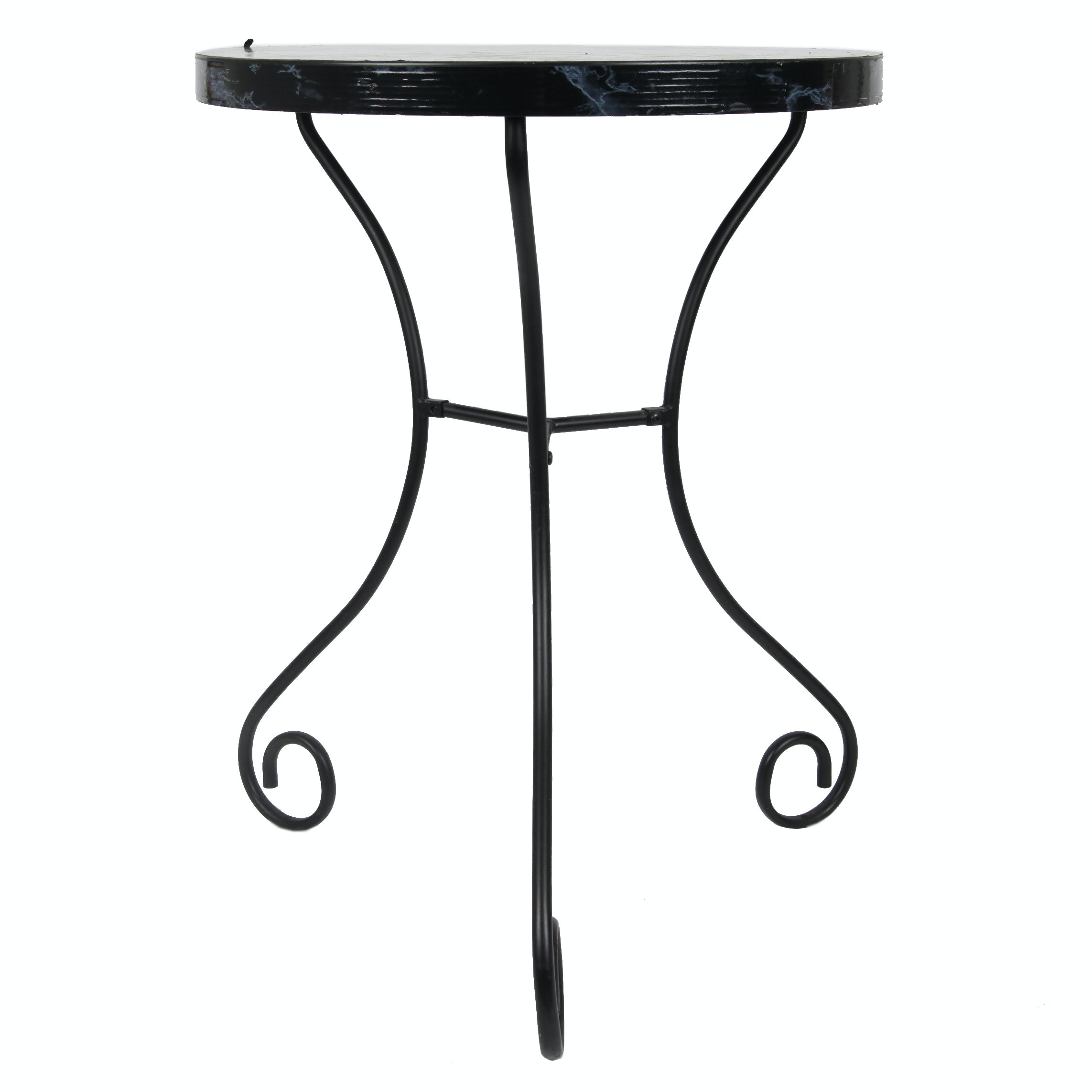 Faux Marble Top Table with Metal Base