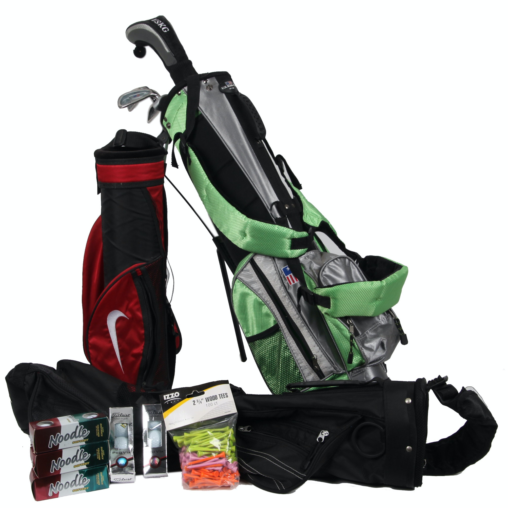 Golf Bags, Clubs, Balls, and Tees