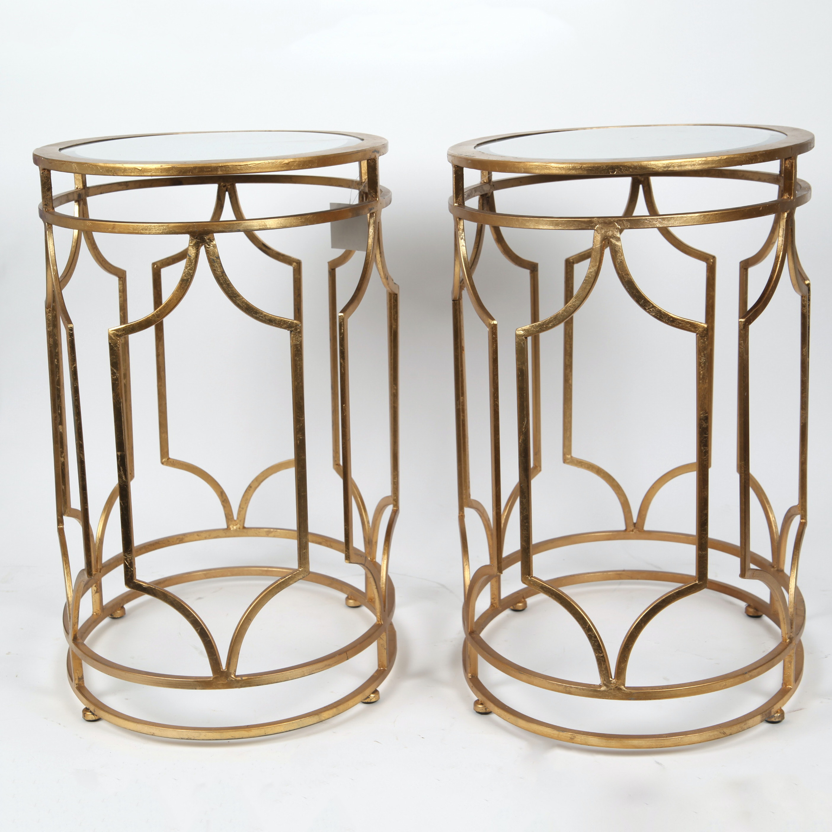 Pair of Metal Drum Tables with Glass Tops