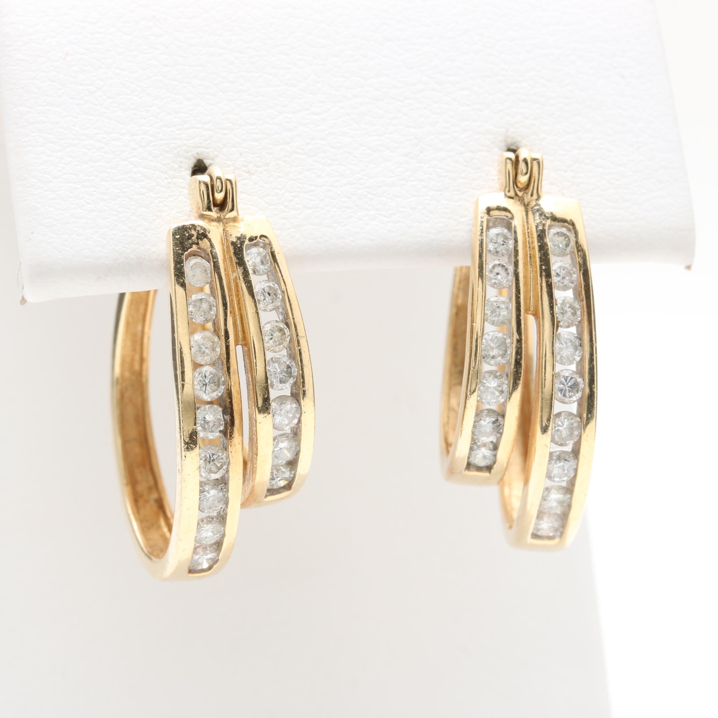 14K Yellow Gold Diamond Double Hoop Earrings