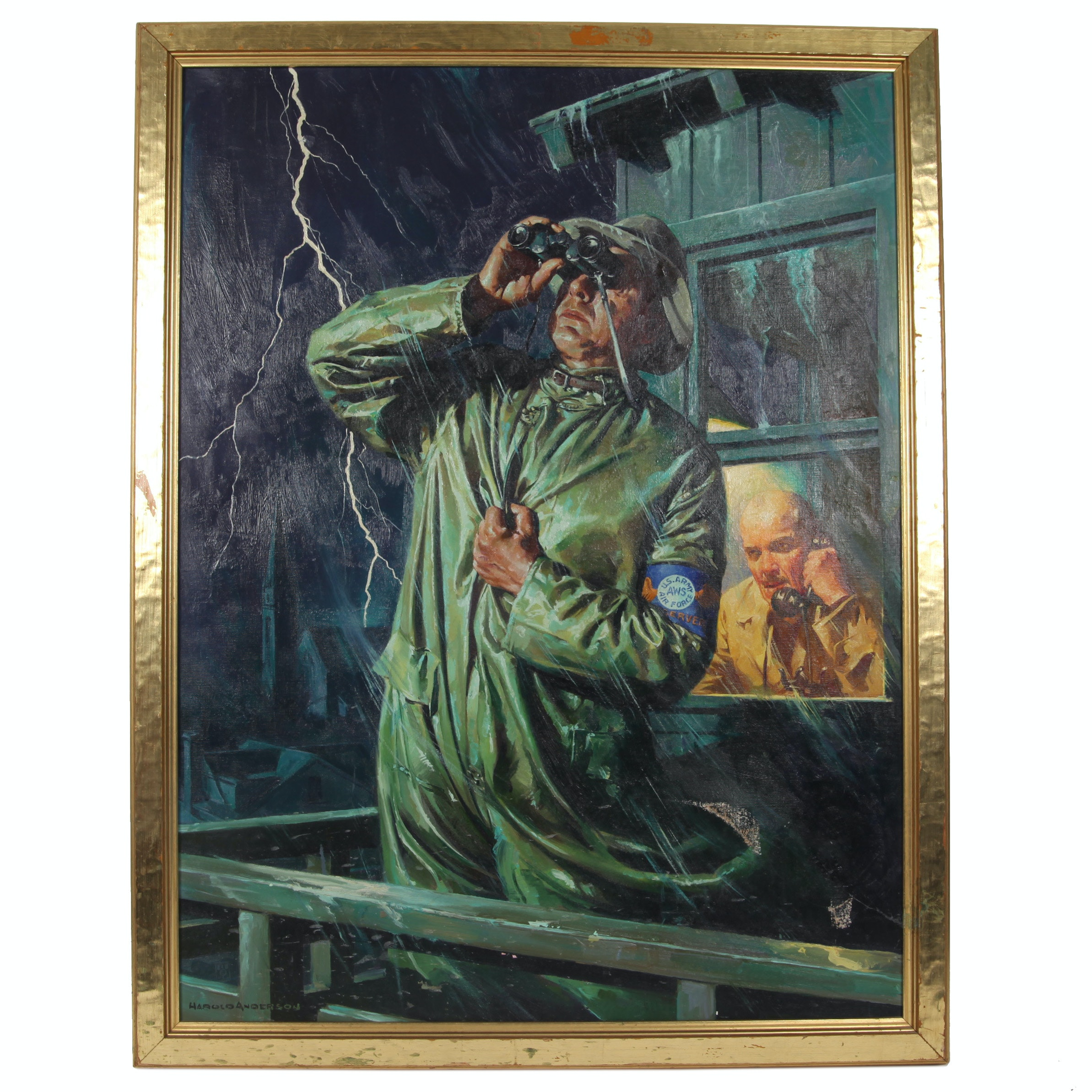 "Harold Anderson Oil Painting On Canvas ""Vigilant in the Storm"""