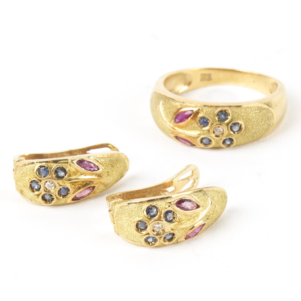 18K Yellow Gold Ruby, Sapphire, and Diamond Ring and Earrings