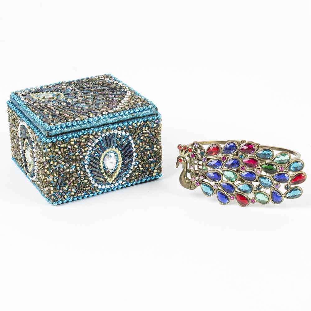 Jeweled Peacock Bangle and Trinket Box