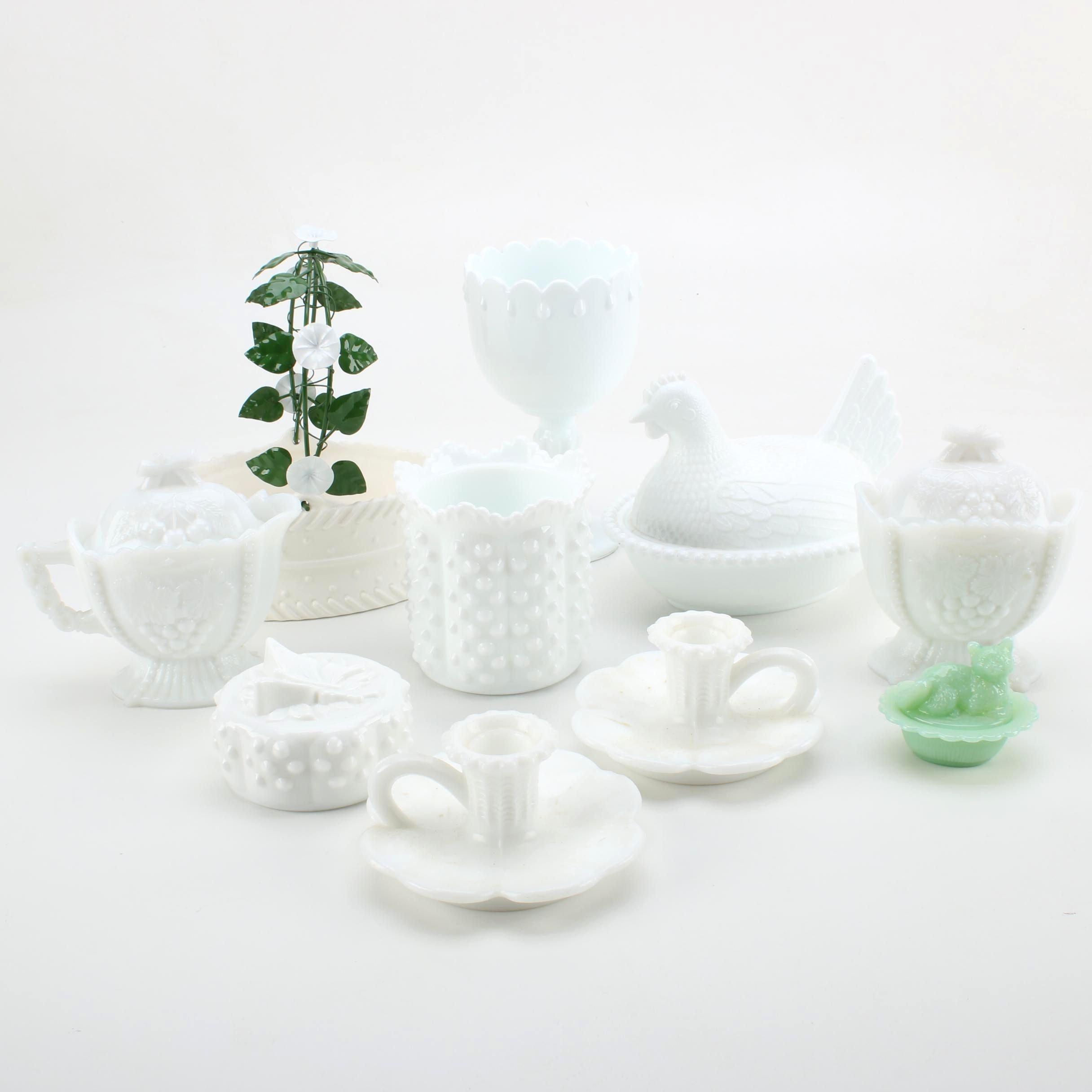 Assortment of White Milk Glass Including Fenton