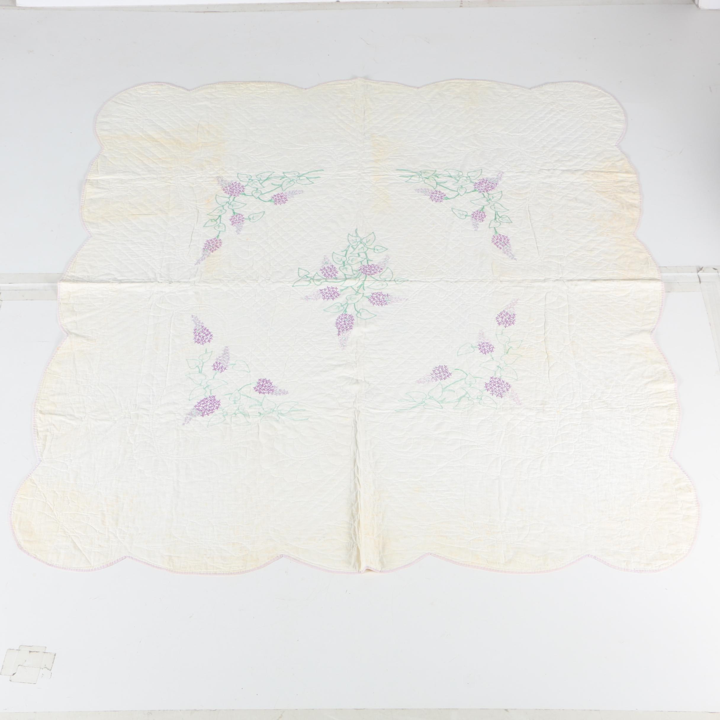 """Vintage Handcrafted """"Purple Wisteria"""" Embroidered Quilt"""