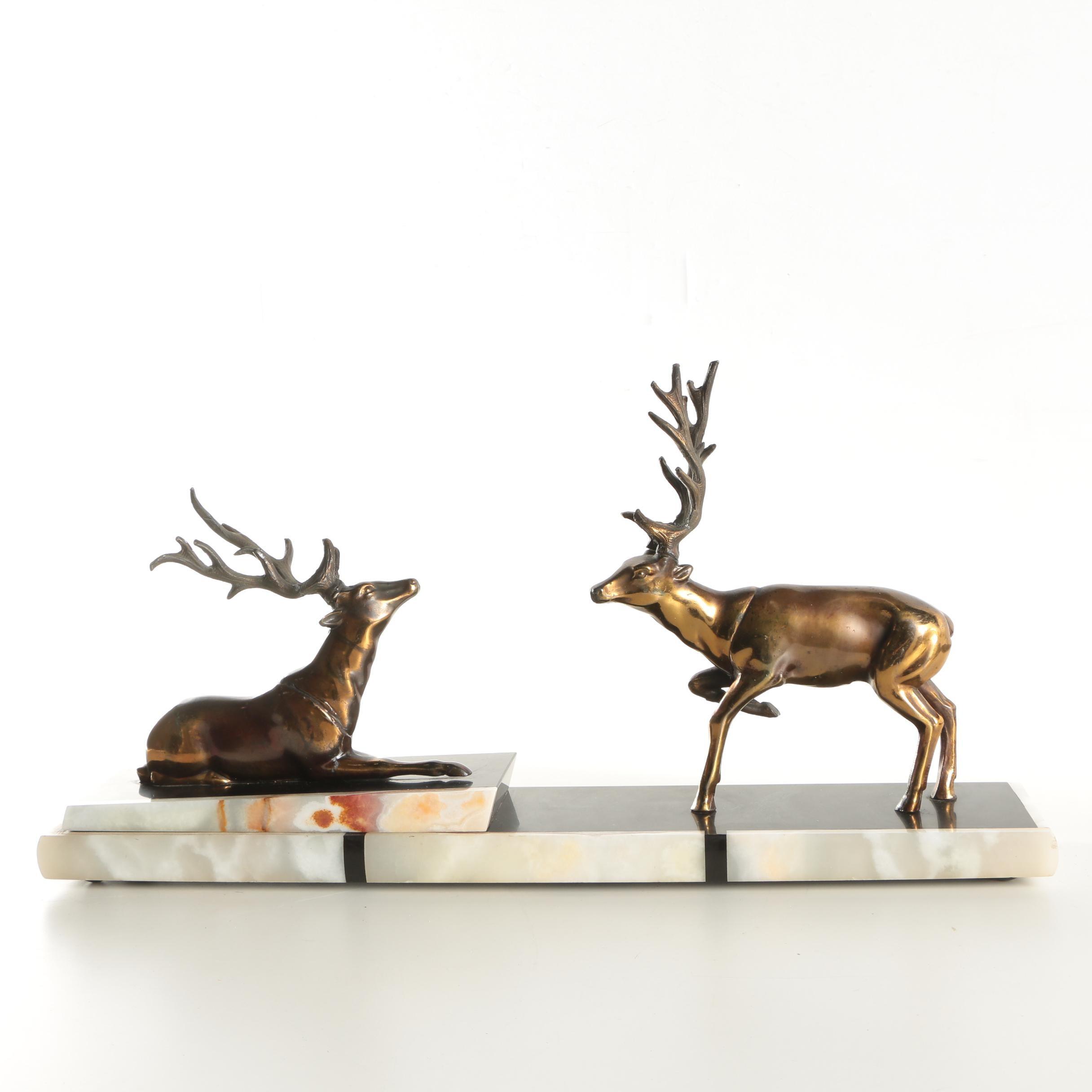 Brass Sculpture of Reindeer