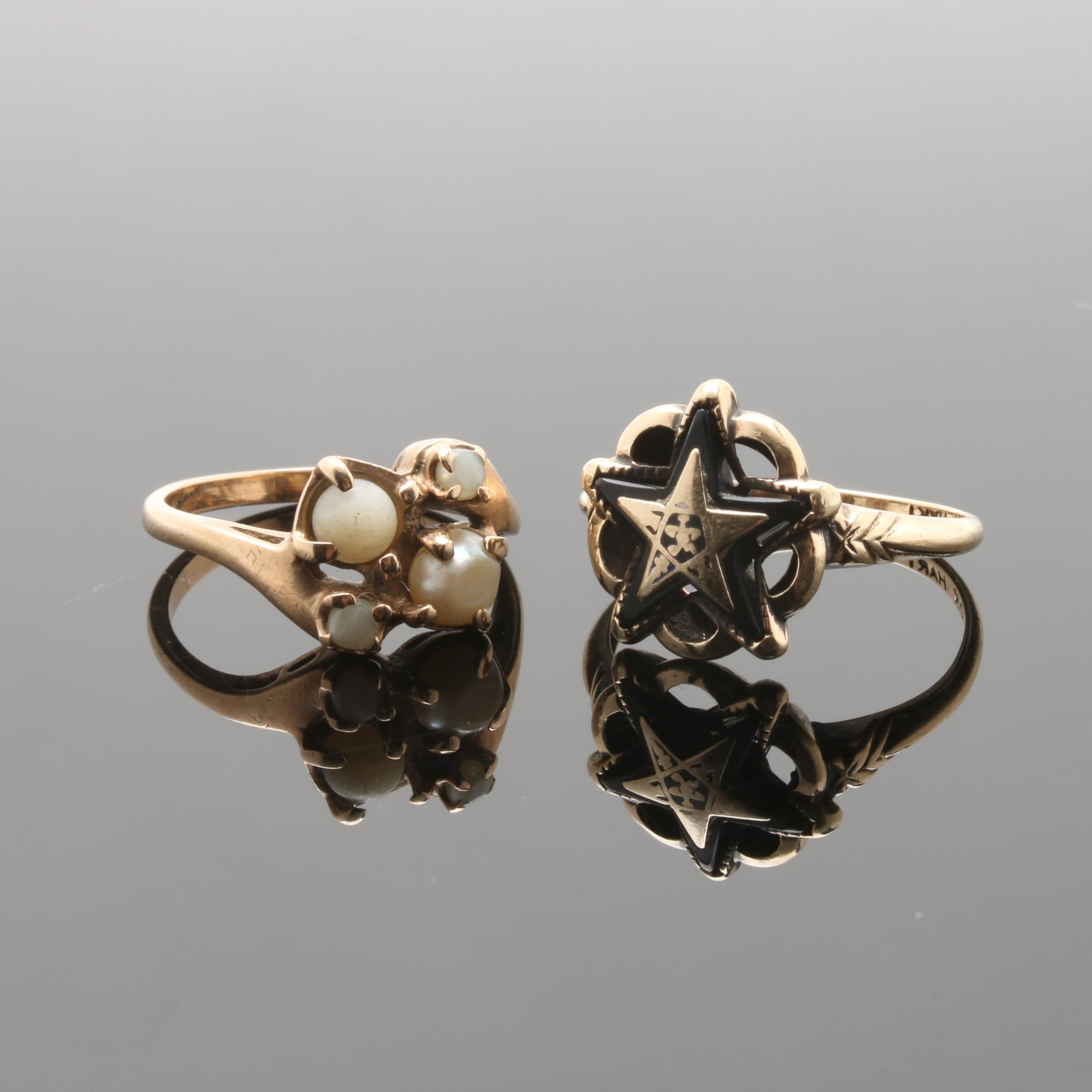 10K Yellow Gold Eastern Star Black Onyx Ring and Cultured Pearl Ring