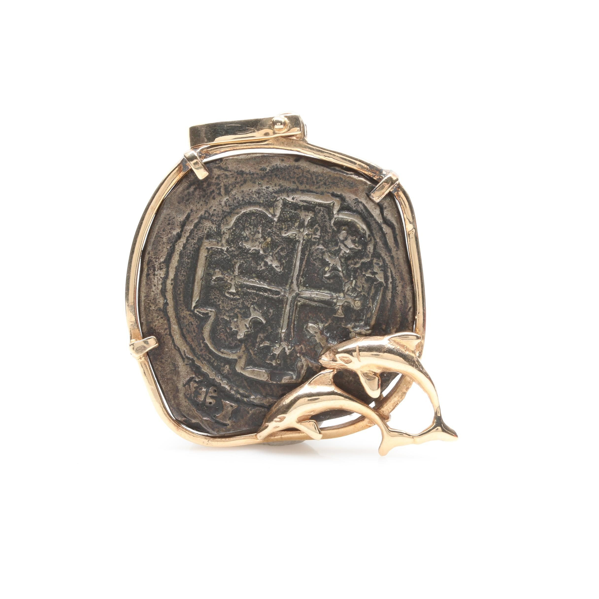 14K Yellow Gold and 850 Silver Colonial Spanish Cob Replica Coin Pendant