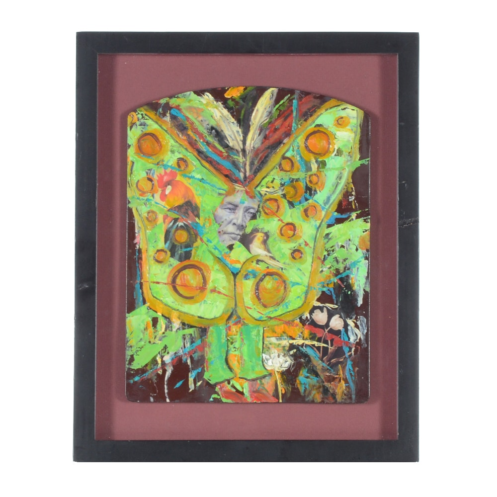 "Rebecca Manns Original Mixed Media Painting ""Butterfly Native"""