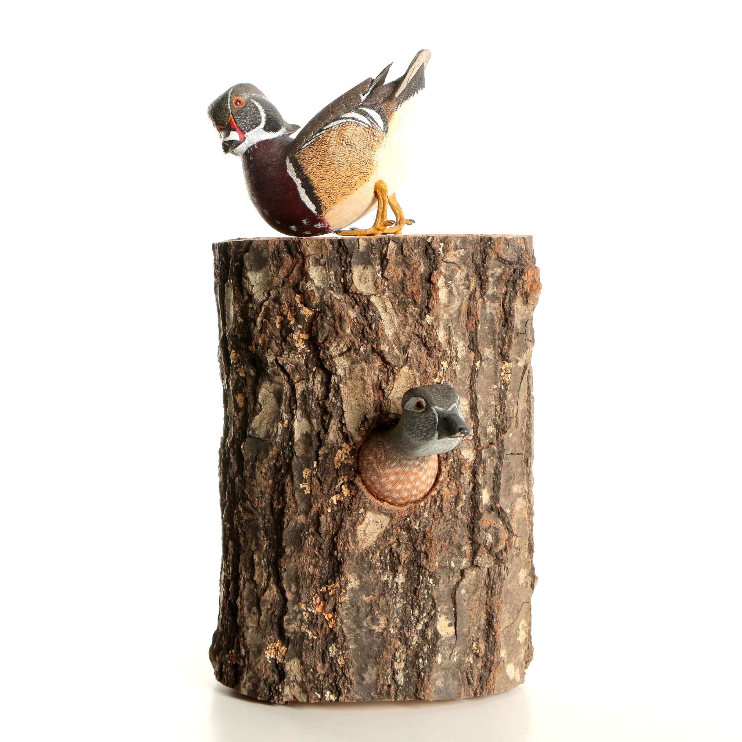 "Joe Anderuk Wood Carving ""Nesting Wood Ducks"""
