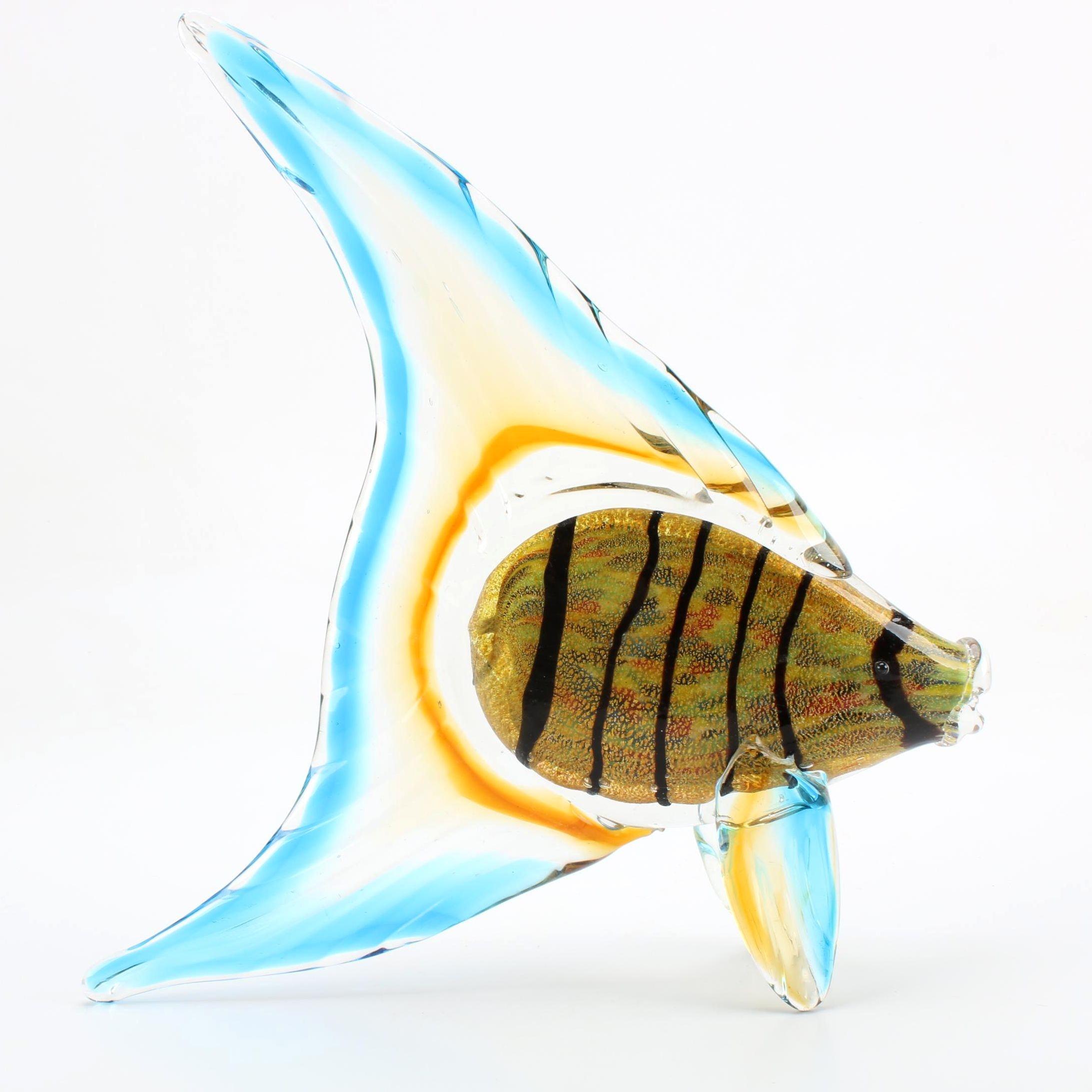 Aventurine Art Glass Tropical Fish Sculpture