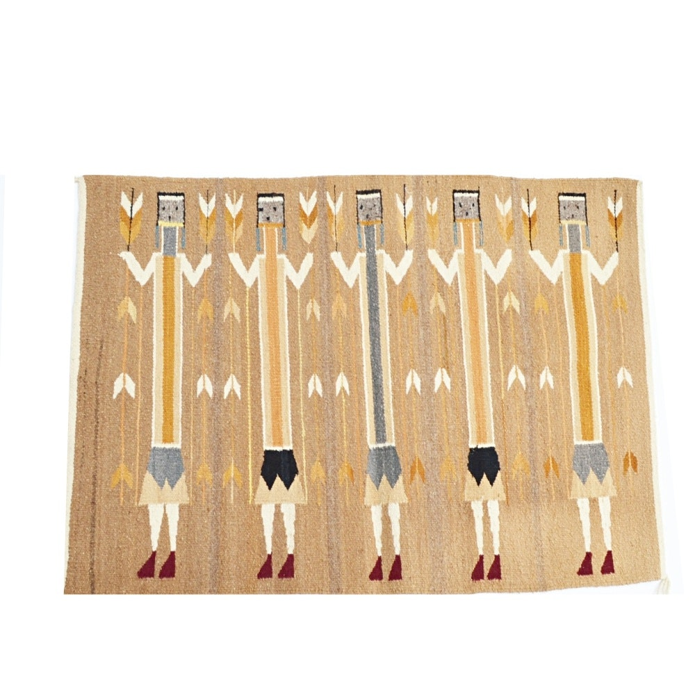 Handwoven Wool Yei Accent Rug