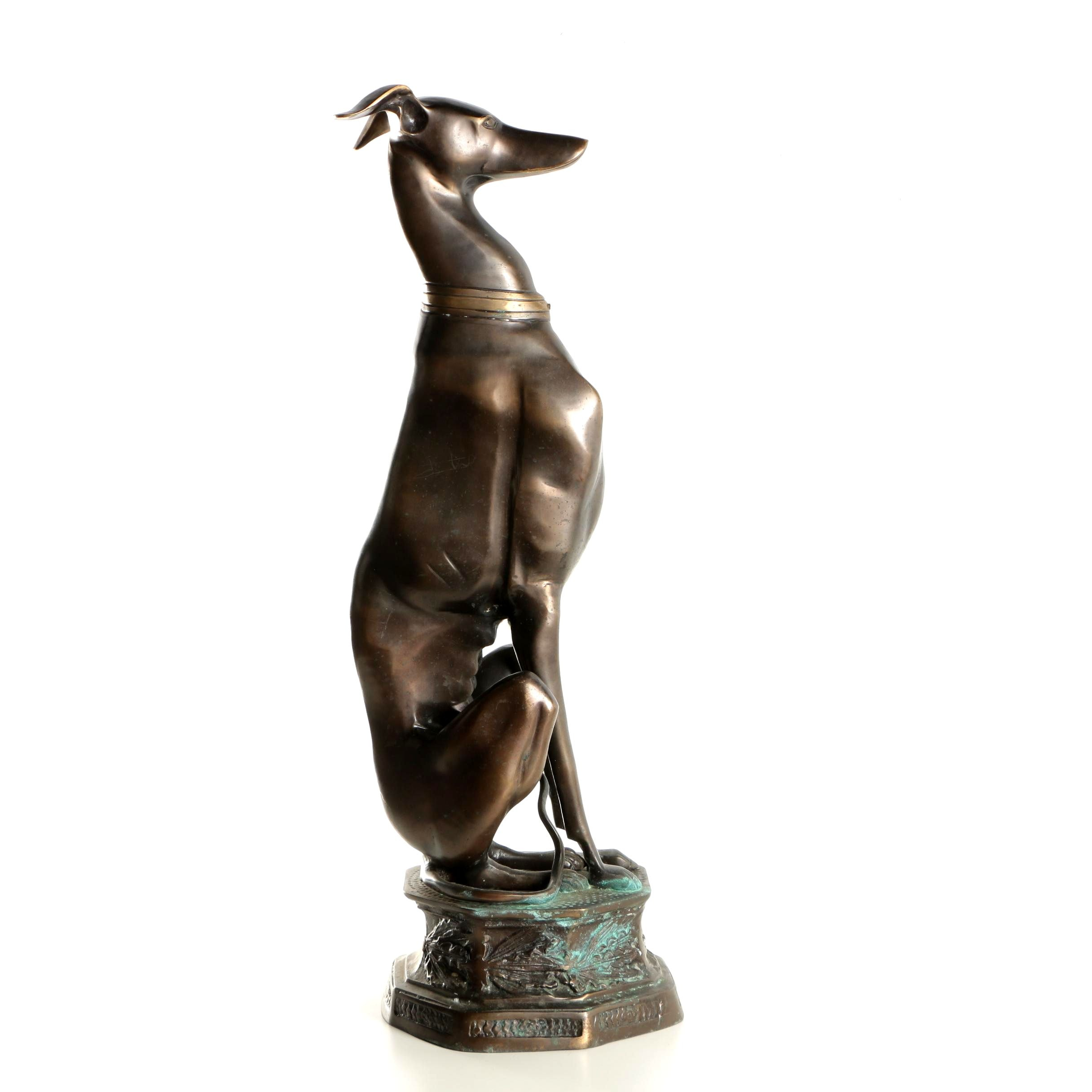 Mid Century Brass Reproduction Sculpture of Seated Greyhound