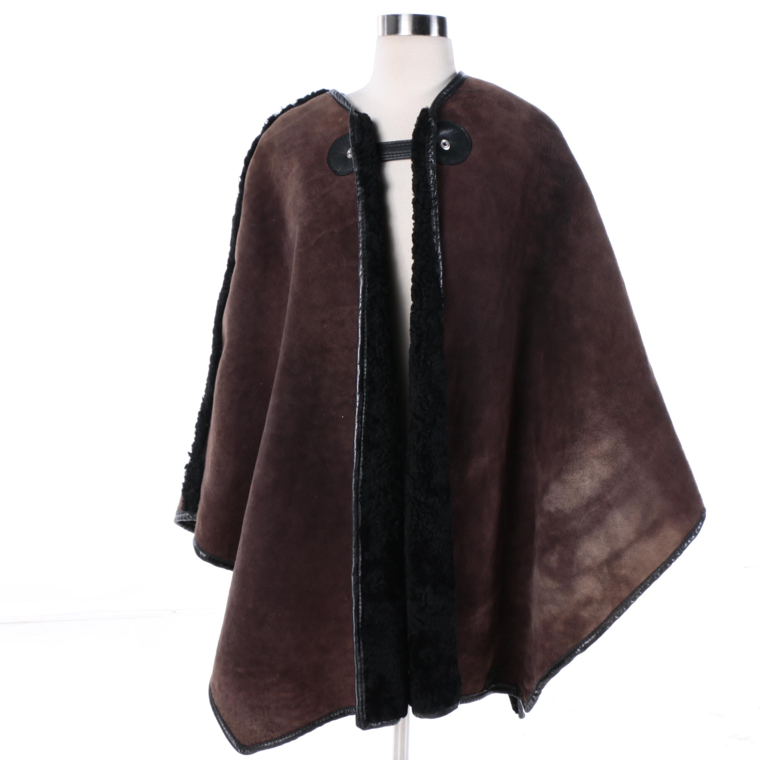 Women's Reversible Brown Leather and Black Shearling Cape