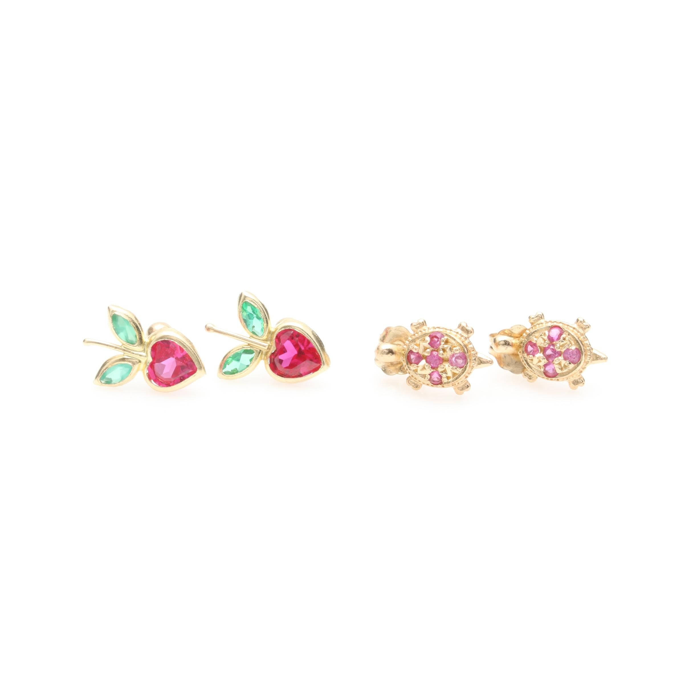 10K and 14K Yellow Gold Synthetic Ruby and Chalcedony Stud Earring Selection