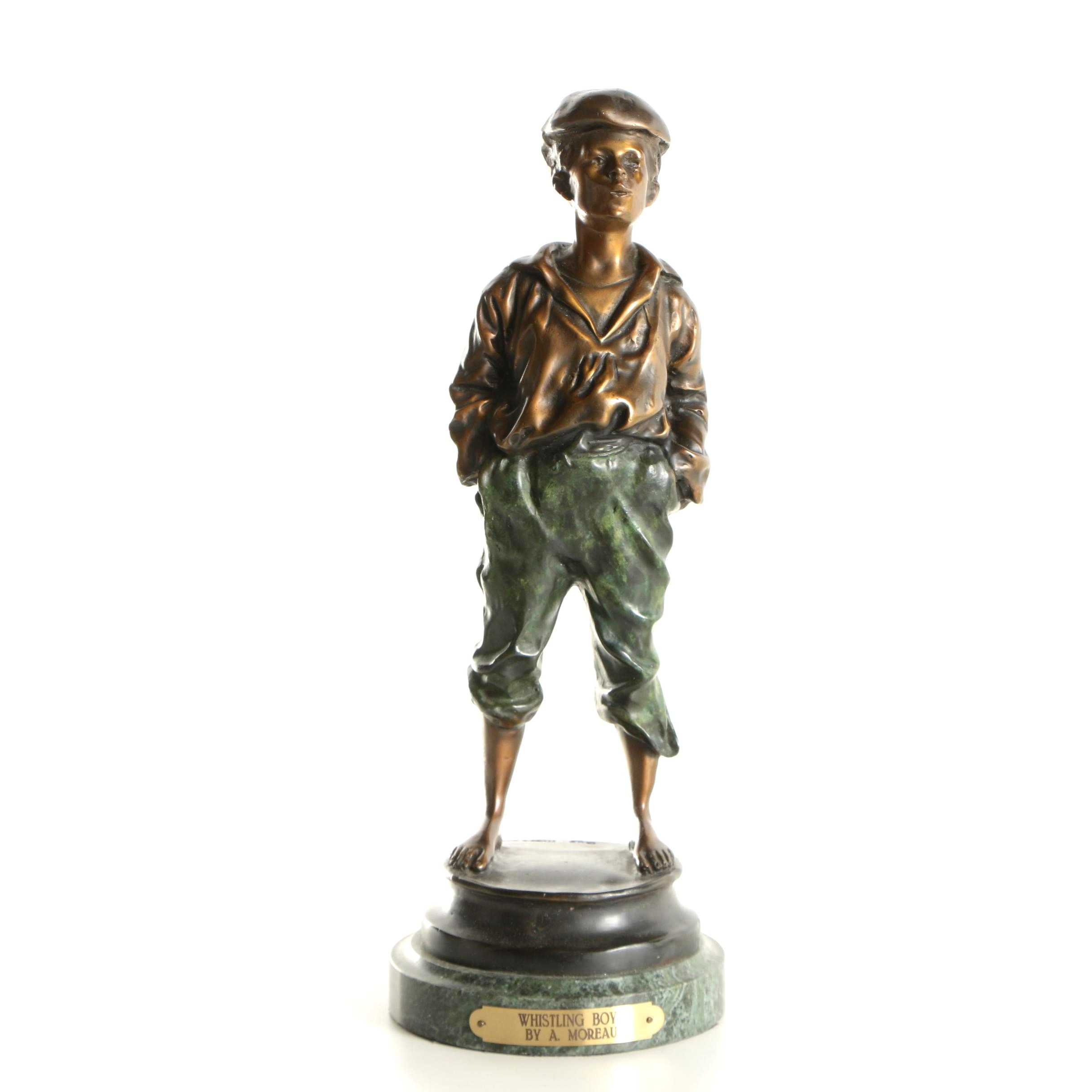 "Reproduction Brass Figure After Auguste Moreau ""Whistling Boy"""