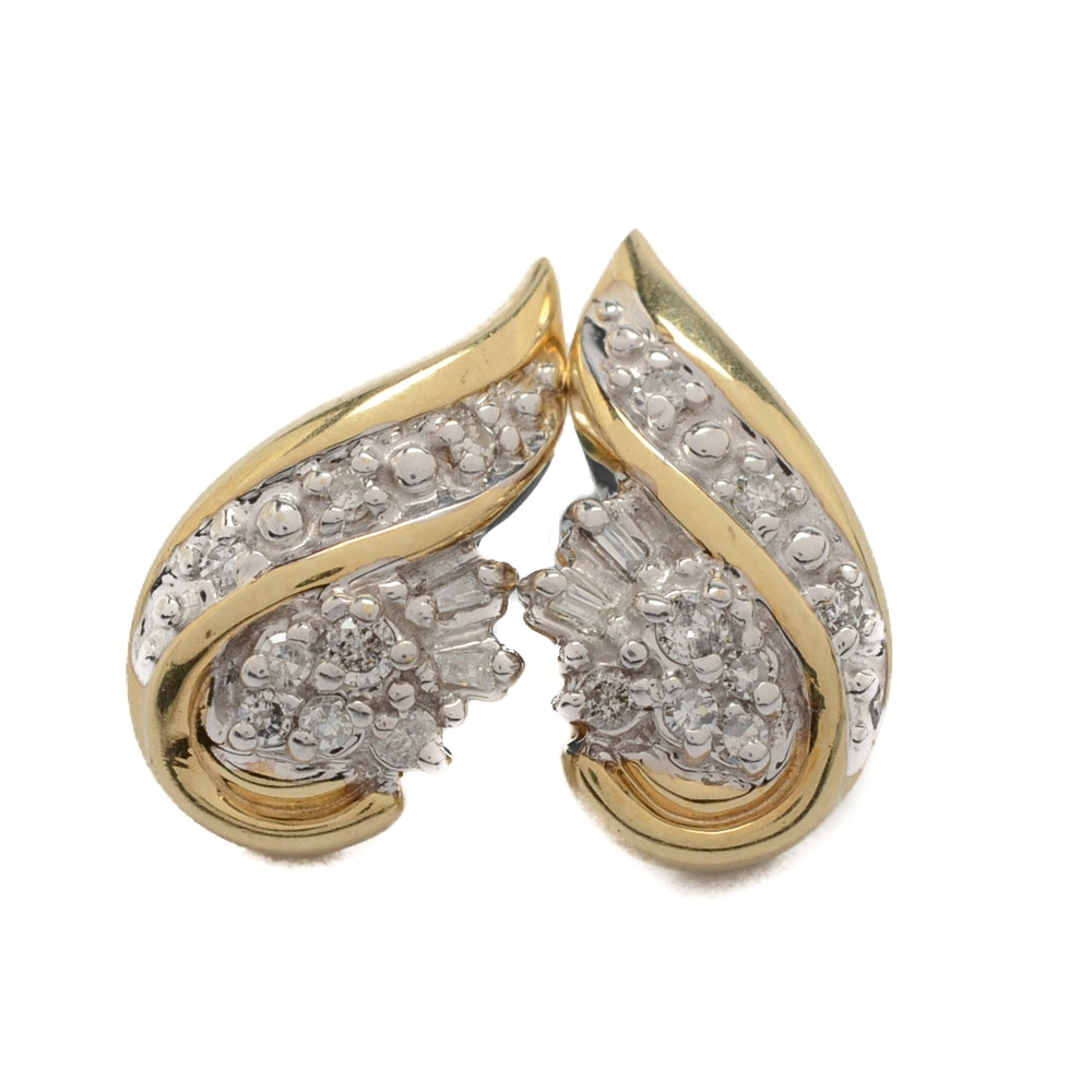 10K Yellow Gold Diamond Earrings with 14K Yellow Gold Backs