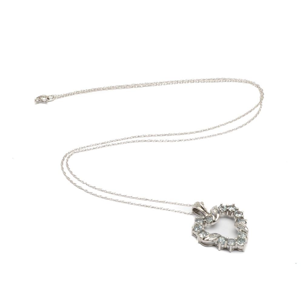 14K White Gold Chain with 10K White Gold Aquamarine and Diamond Heart Pendant