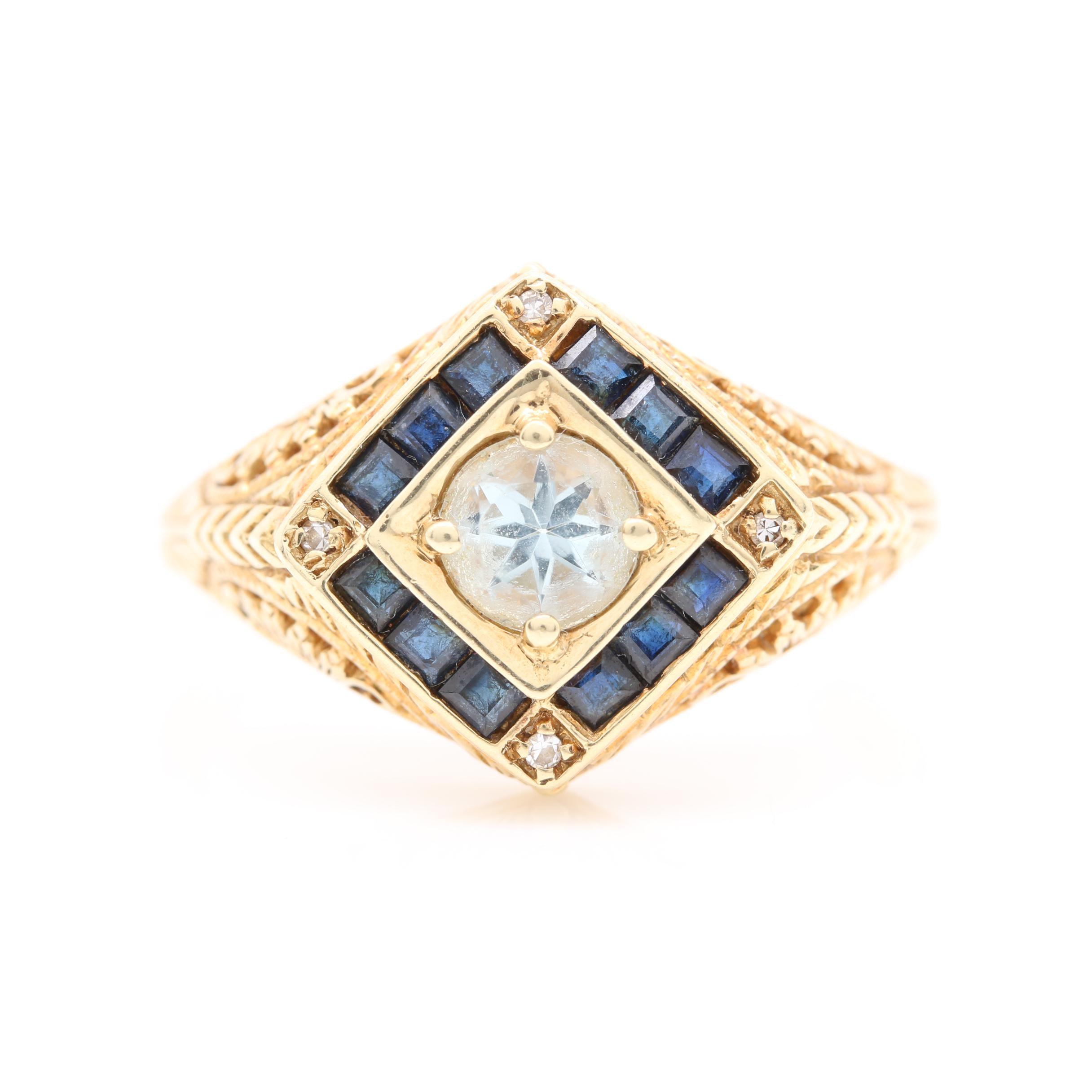 14K Yellow Gold Gadolinium Gallium Garnet, Sapphire, and Diamond Ring