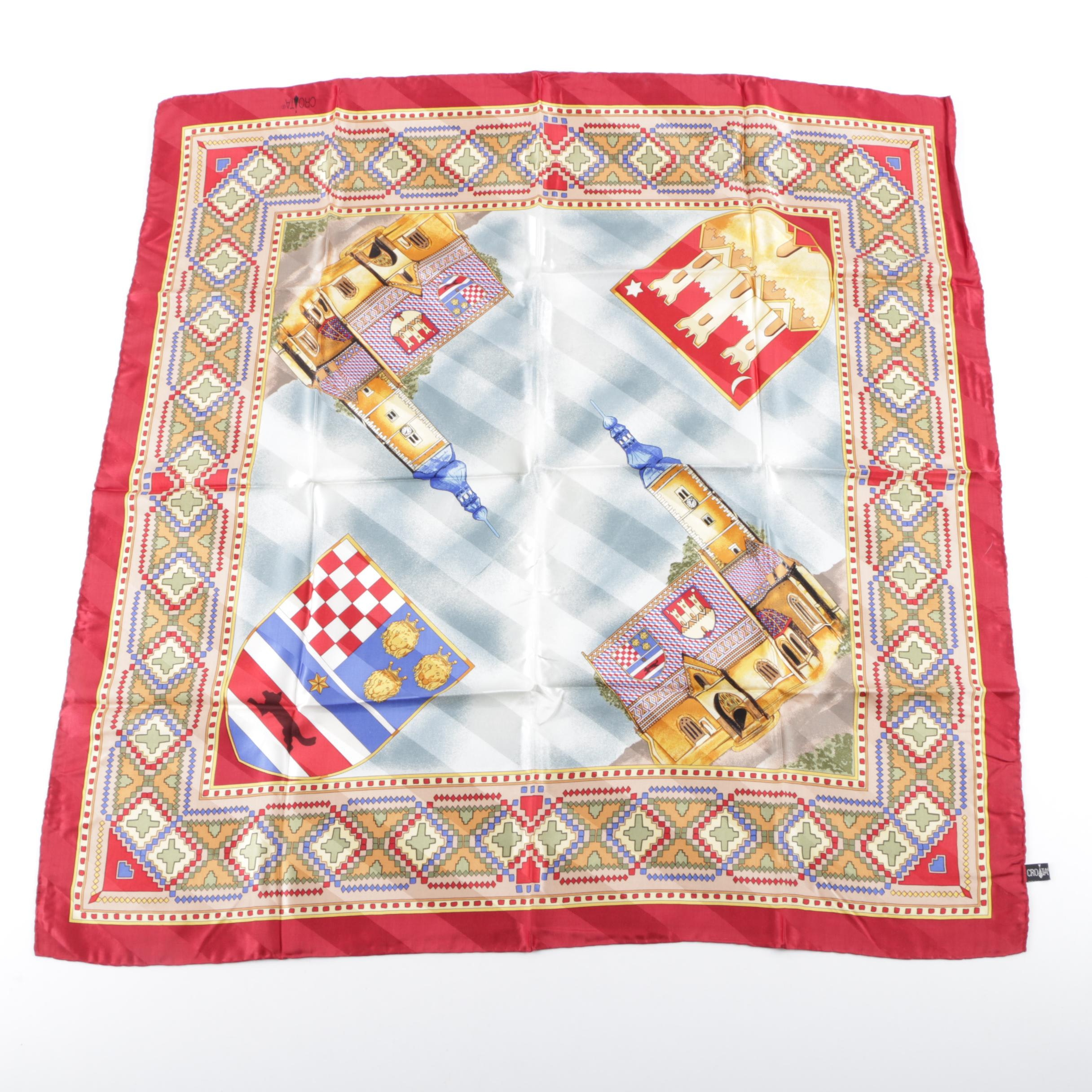 Handmade Croatian St. Marks Church Motif Silk Scarf