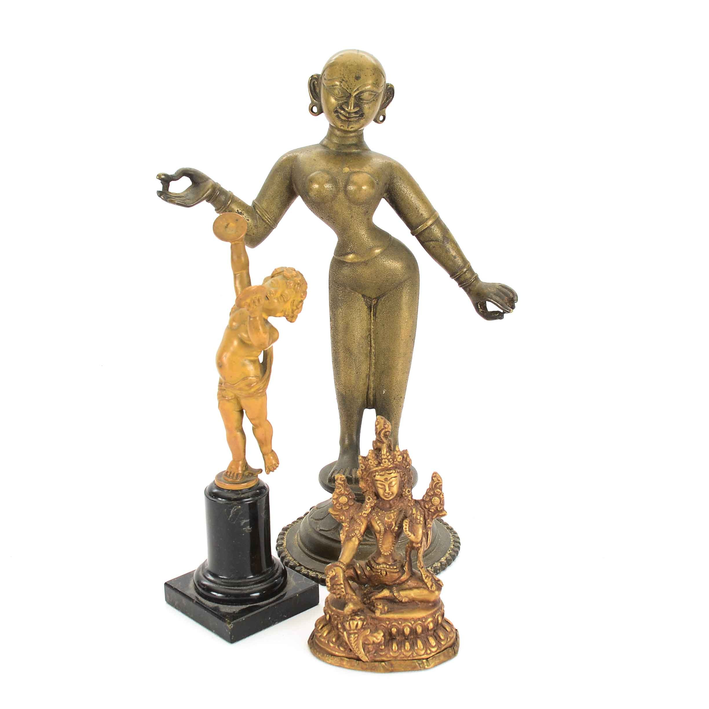 Assorted Gold Tone Decorative Figurines
