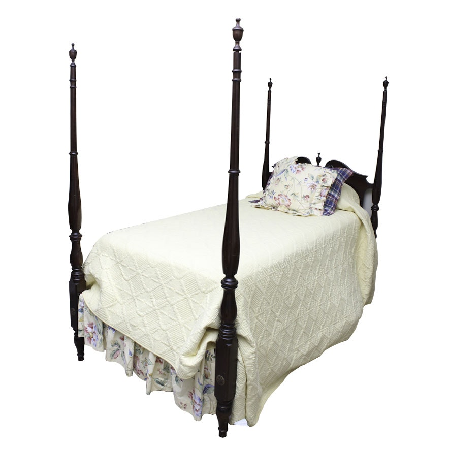 Vintage Colonial Style Mahogany Four Poster Twin Bed