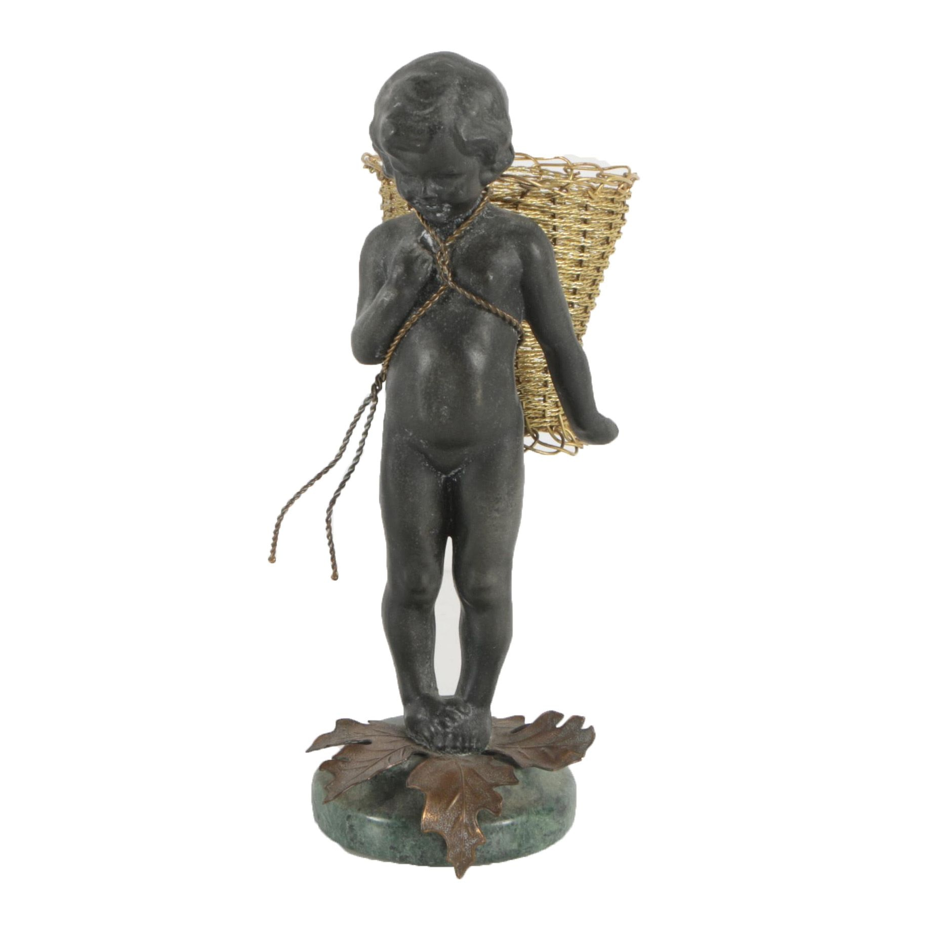 Cast Metal Sculpture of Child with Basket