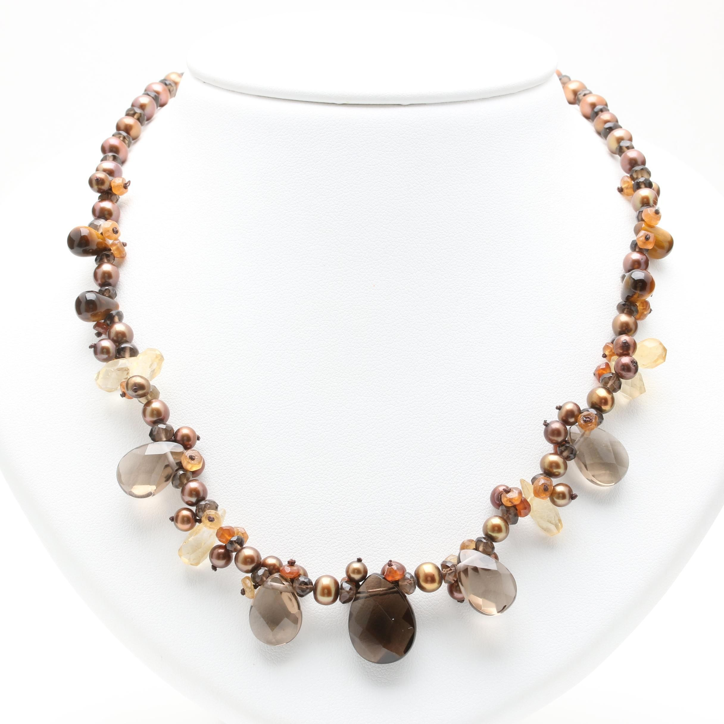 14K Yellow Gold Smoky Quartz, Pearl, Citrine and Tiger's Eye Necklace
