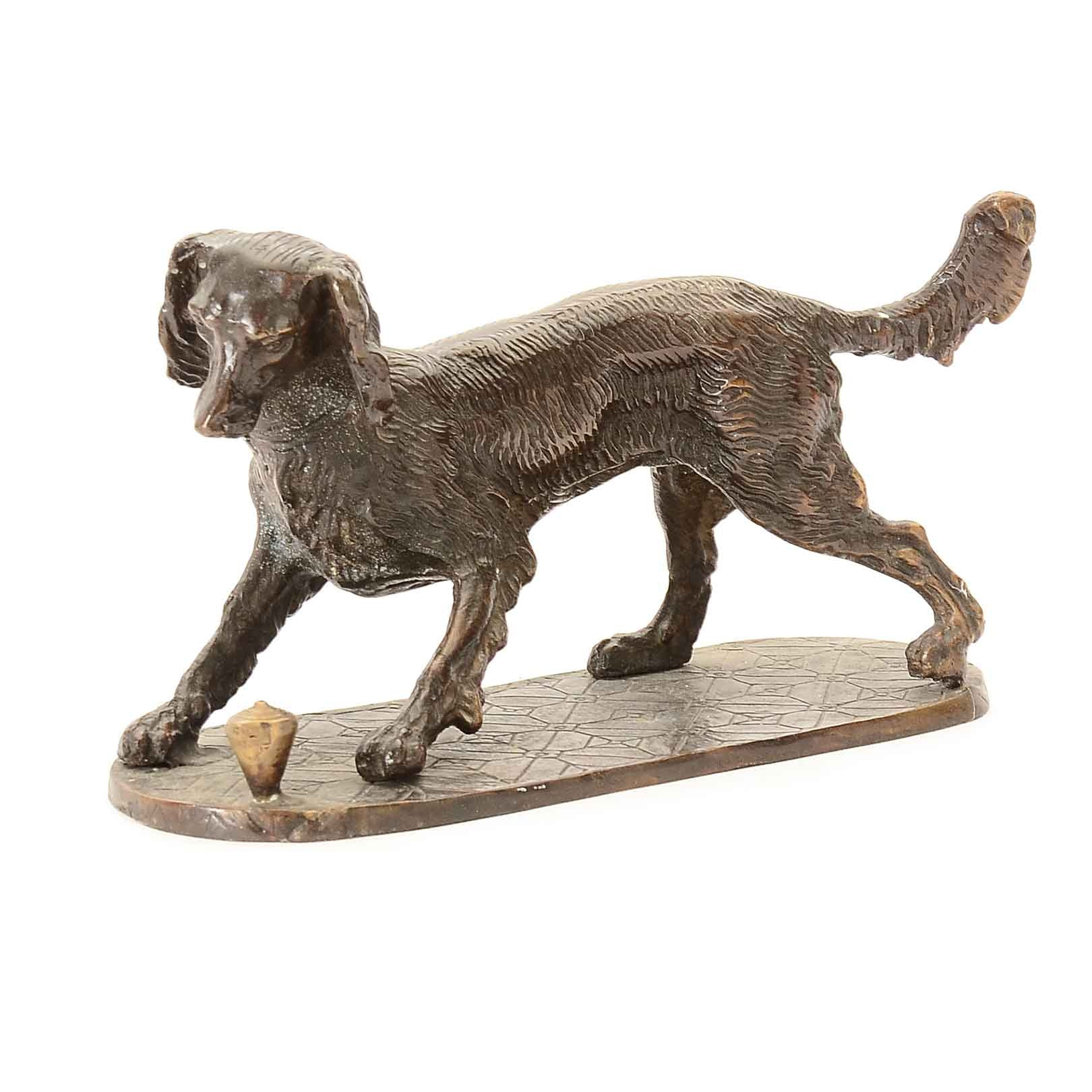 Decorative Bronze Tone Dog Figurine