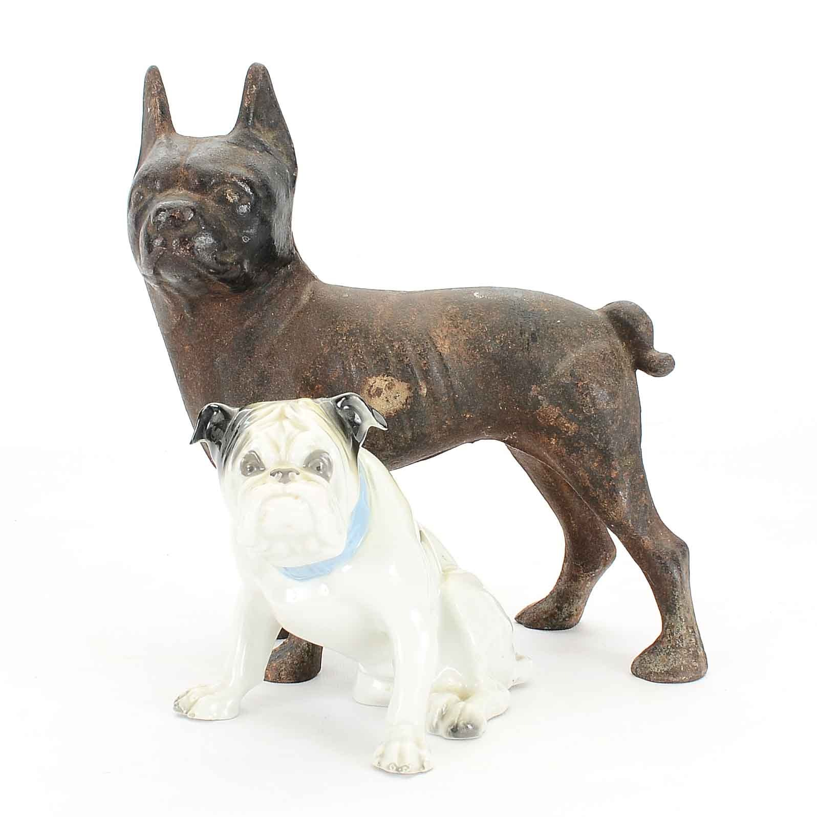 Decorative Ceramic and Metal Dog Figurines