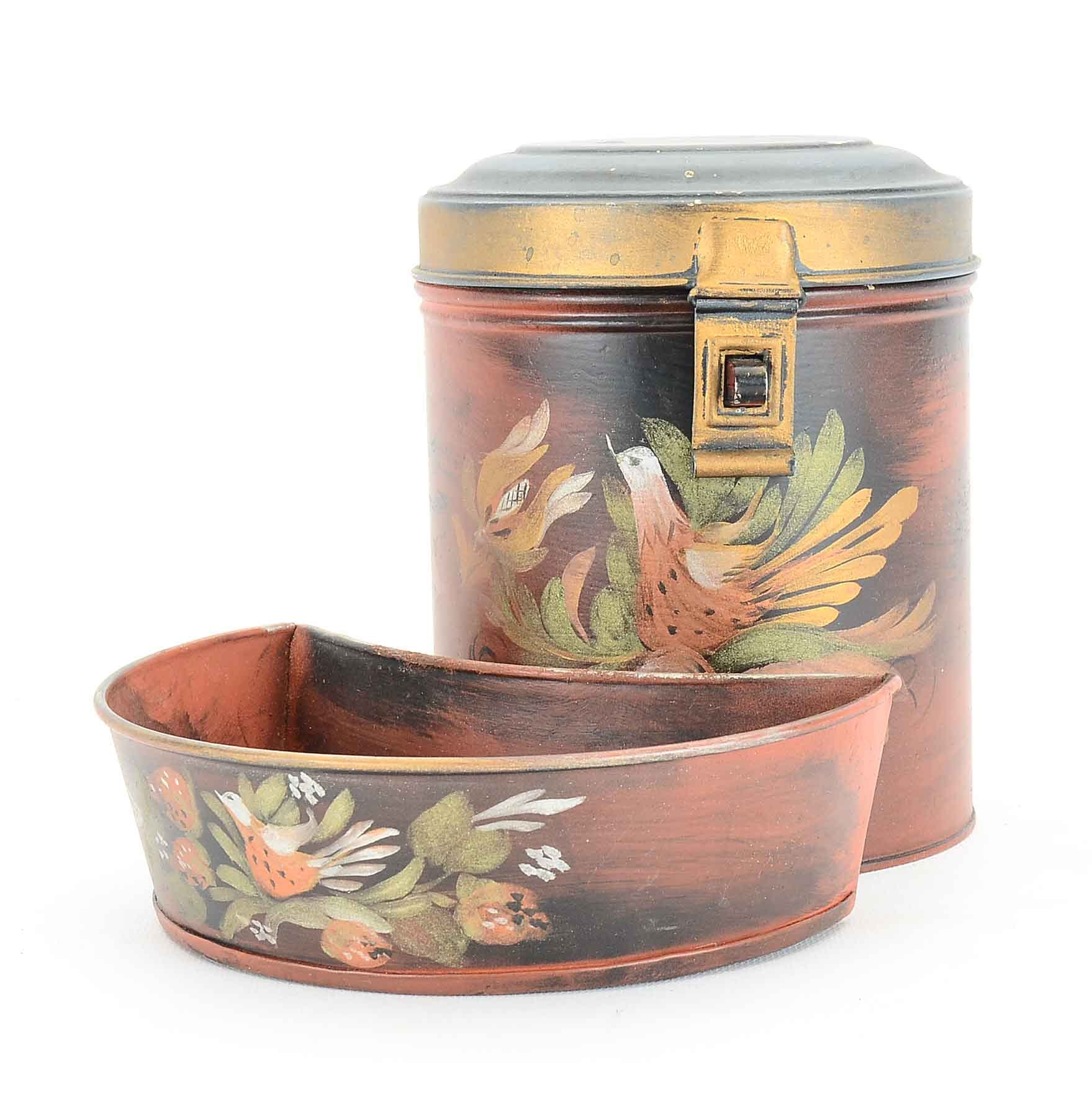 Painted Tin Canister with Hinged Lid and Tray